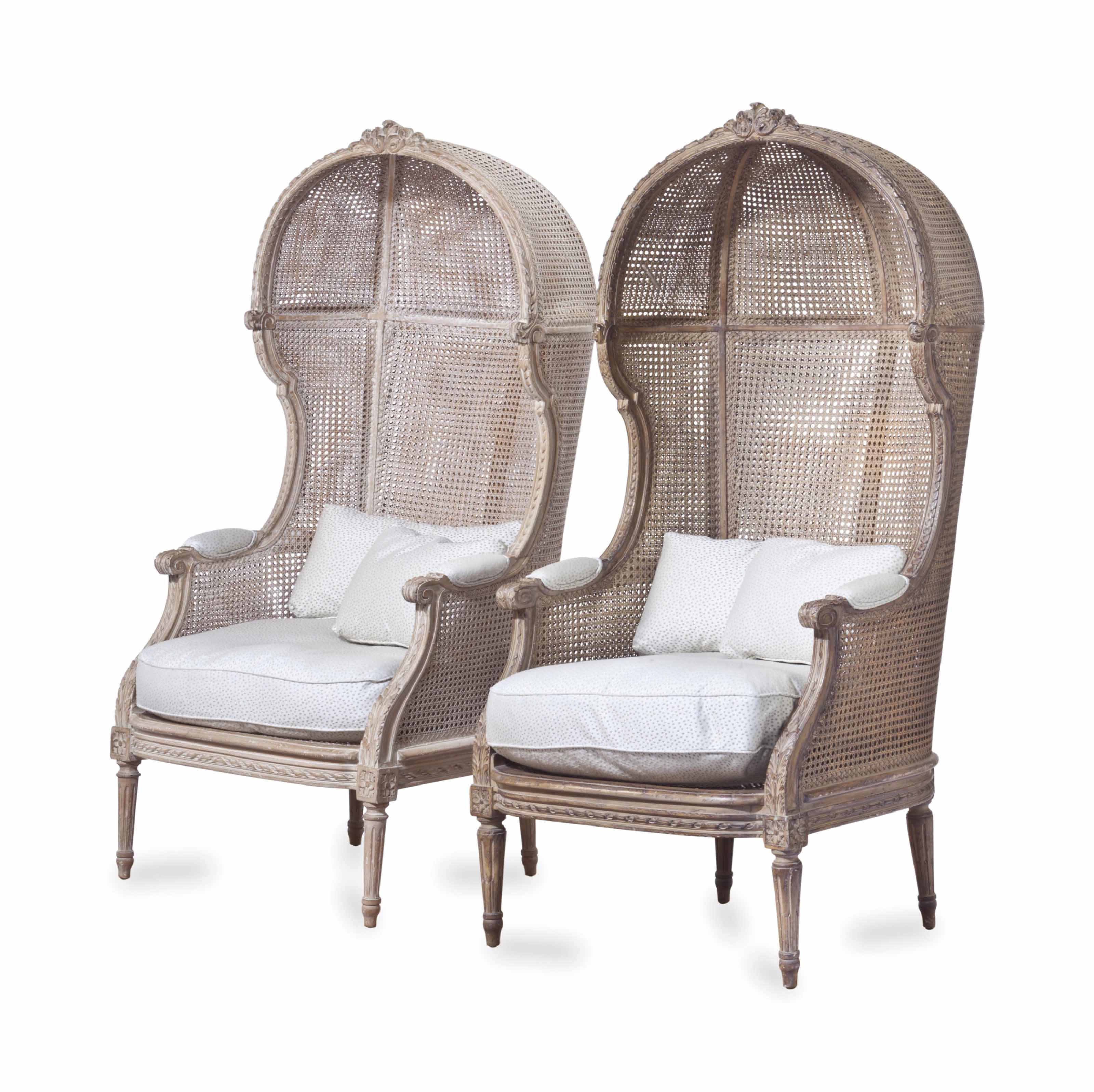 A PAIR OF LOUIS XVI STYLE LIMED BEECHWOOD AND CANED PORTER'S CHAIRS