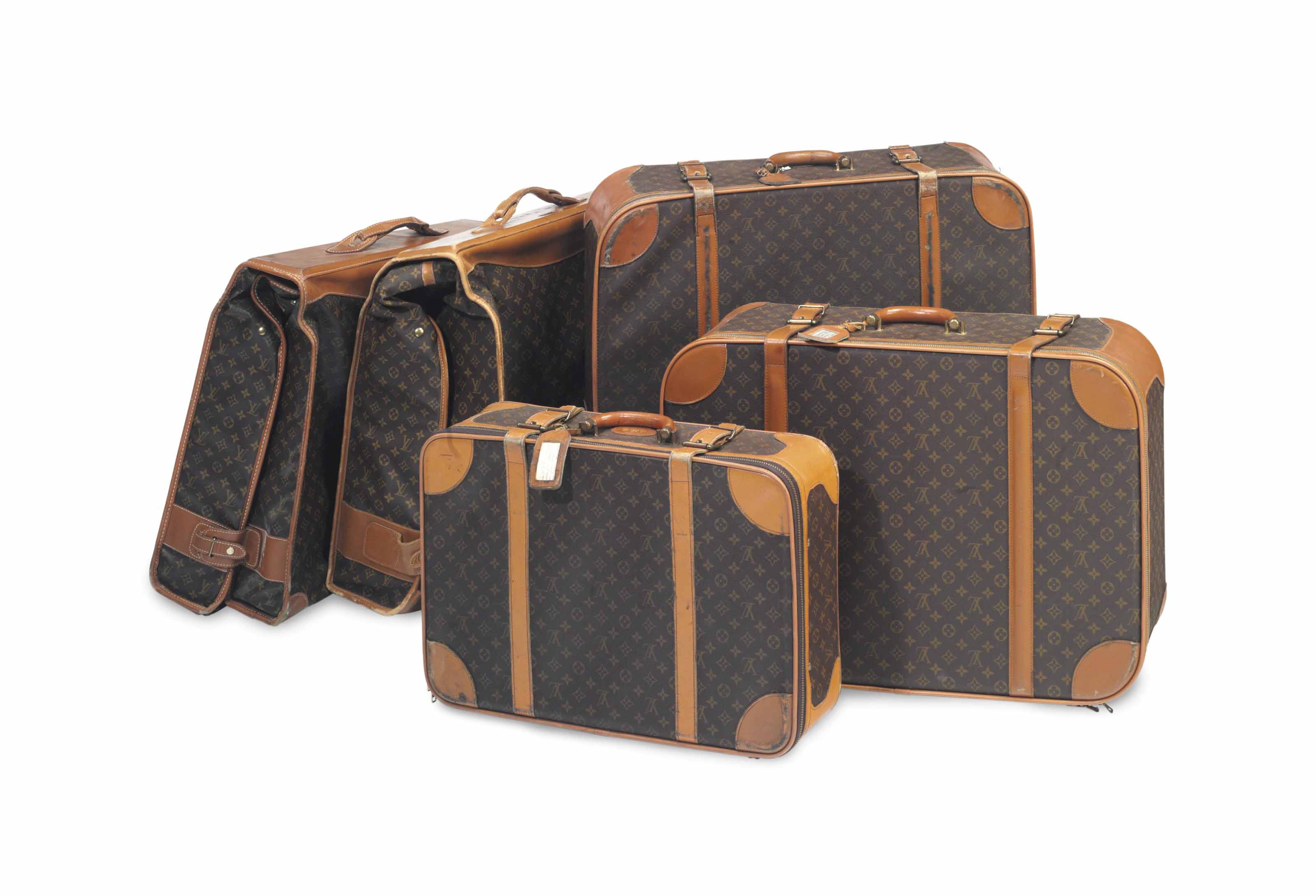 FIVE PIECES OF FRENCH MONOGRAM CANVAS AND LEATHER LUGGAGE,