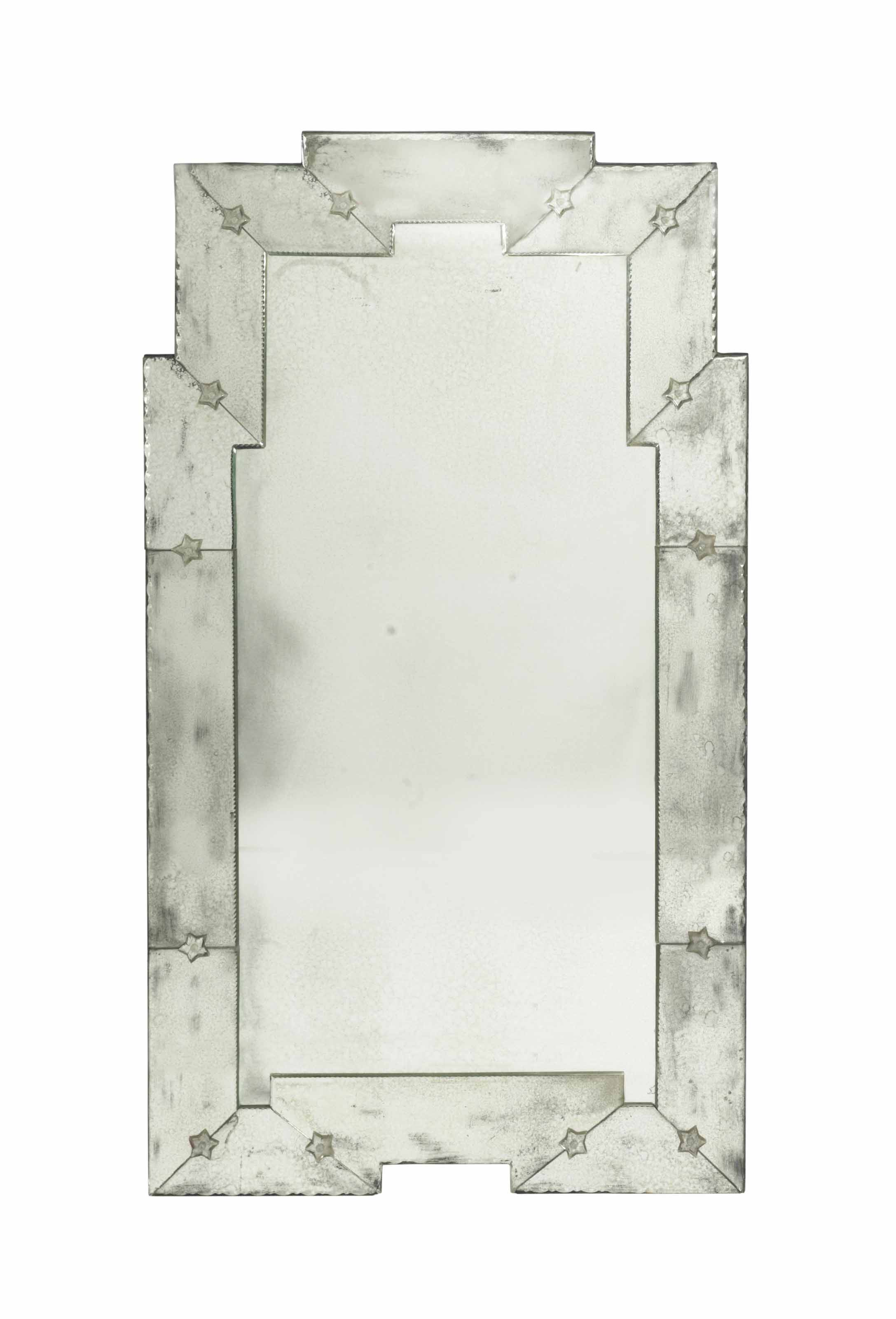 A PAIR OF COLORLESS CUT-GLASS MIRRORS,