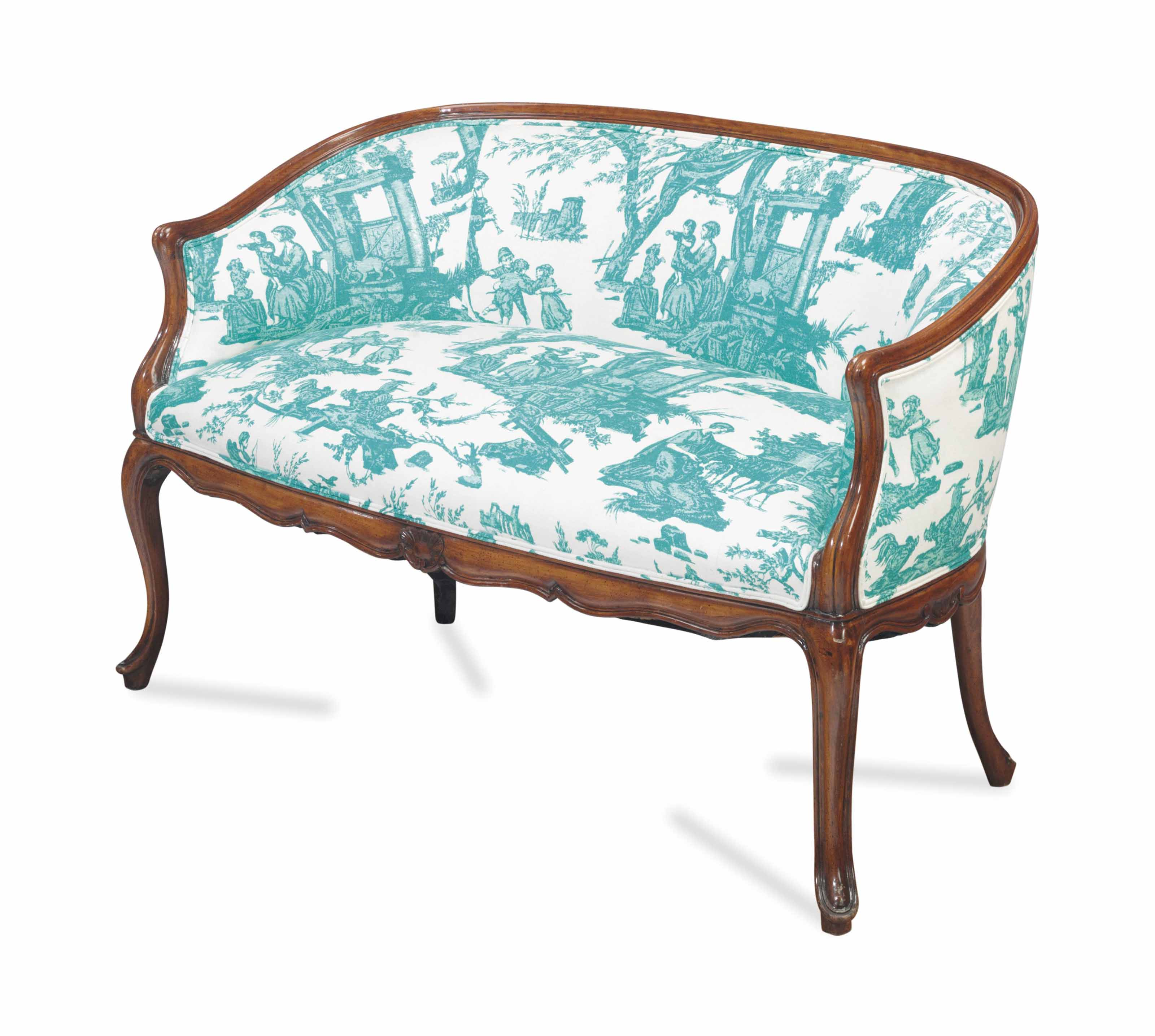 A LOUIS XV STYLE STAINED BEECH SETTEE