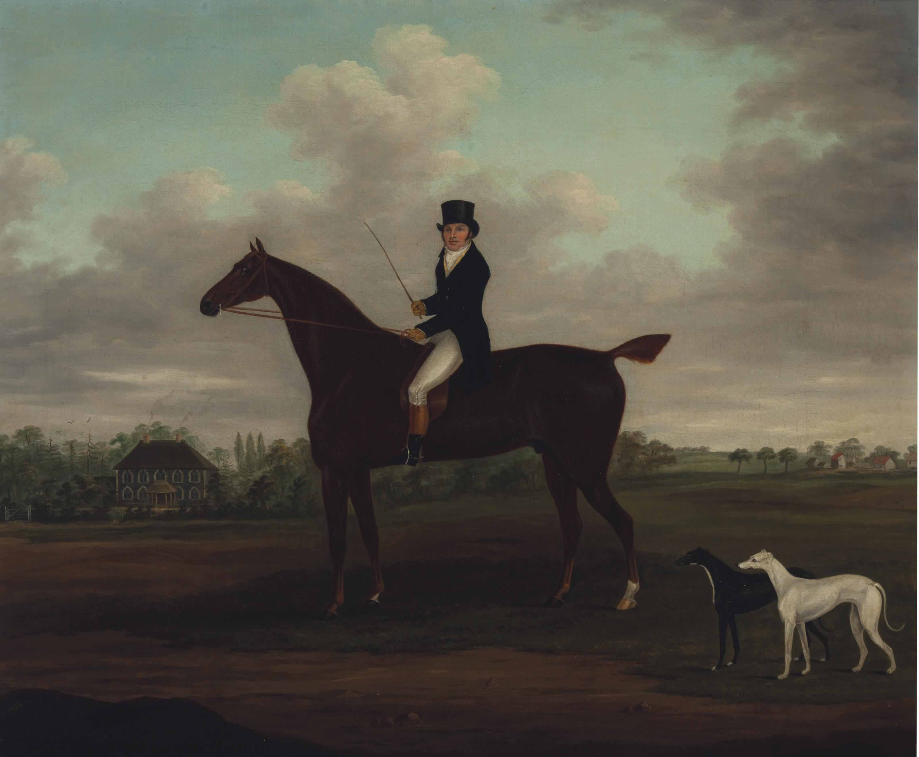 Portrait of a gentleman on a bay hunter with his greyhounds and a country house beyond