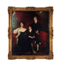 A group portrait of a lady and two young men