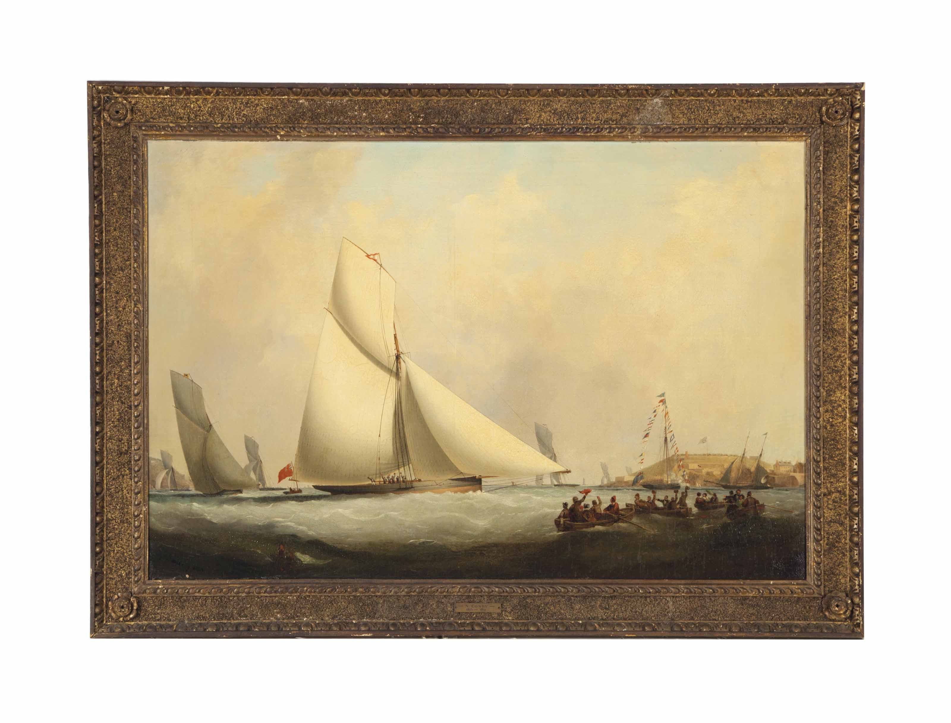 The arrival of a schooner in a harbor