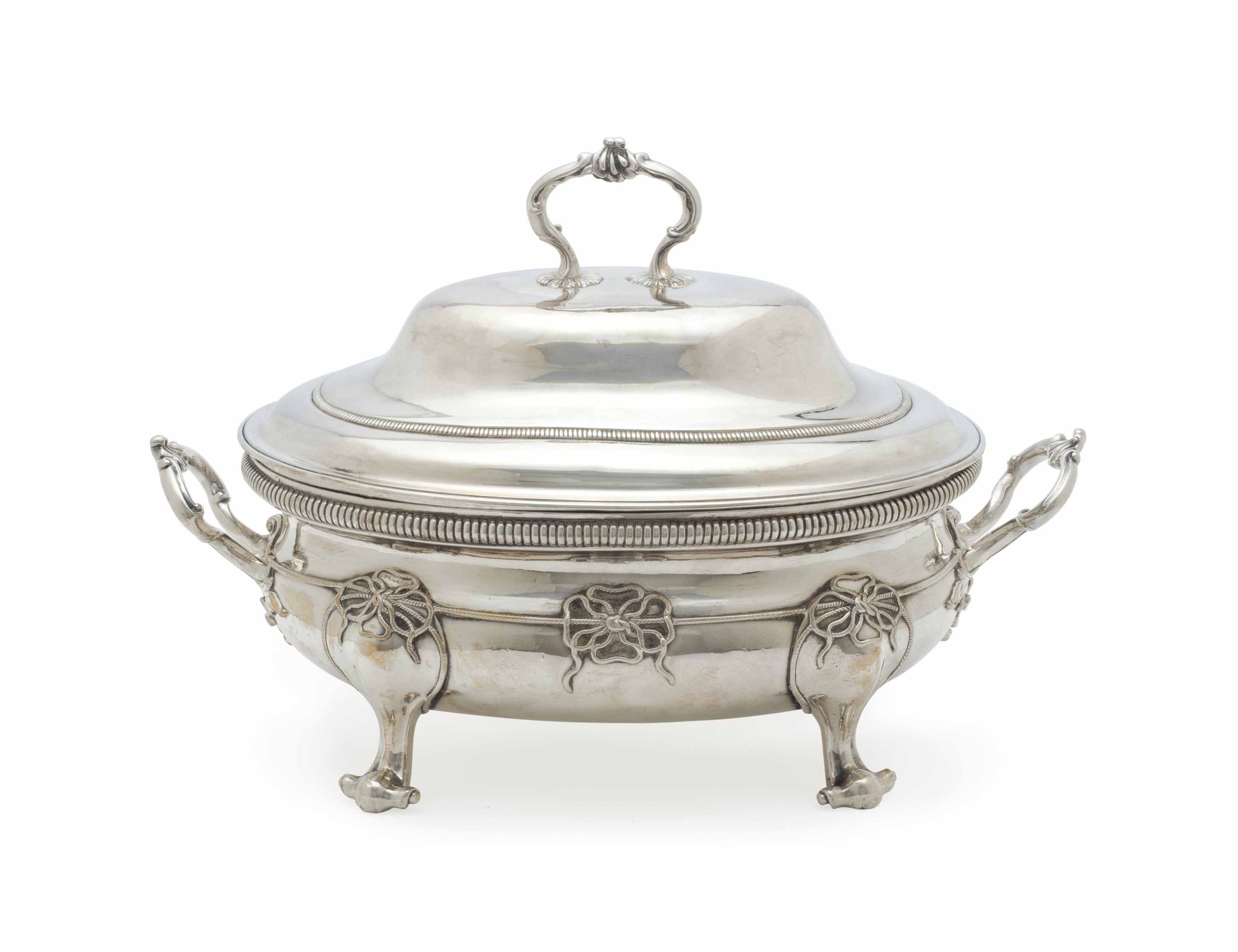 A GEORGE III SILVER SOUP TUREEN AND COVER
