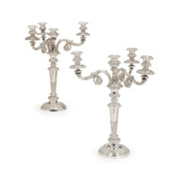 A PAIR OF GEORGE IV SILVER AND SILVER PLATE FOUR-LIGHT CANDELABRA