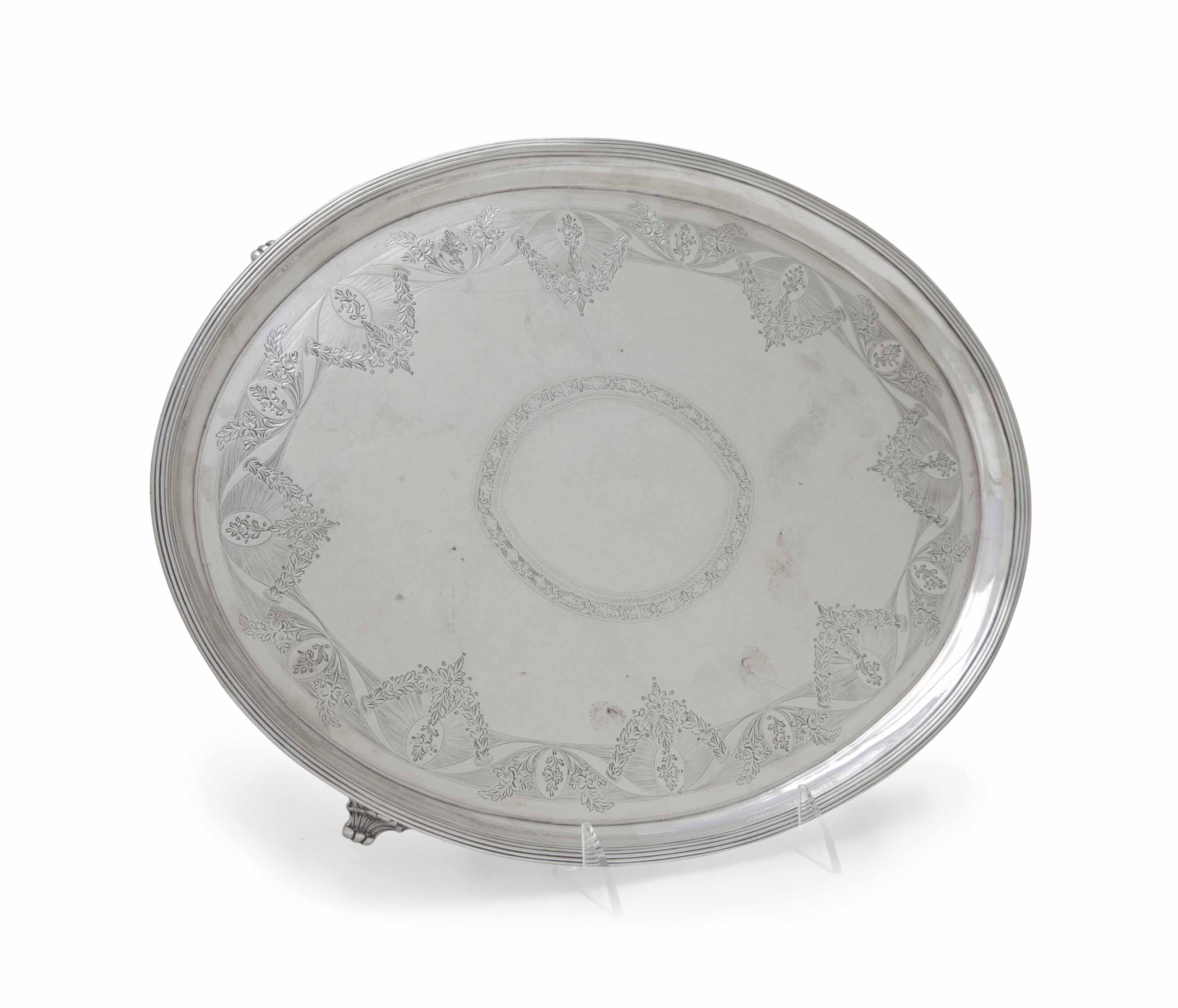 A GEORGE III SILVER OVAL FOOTED SALVER