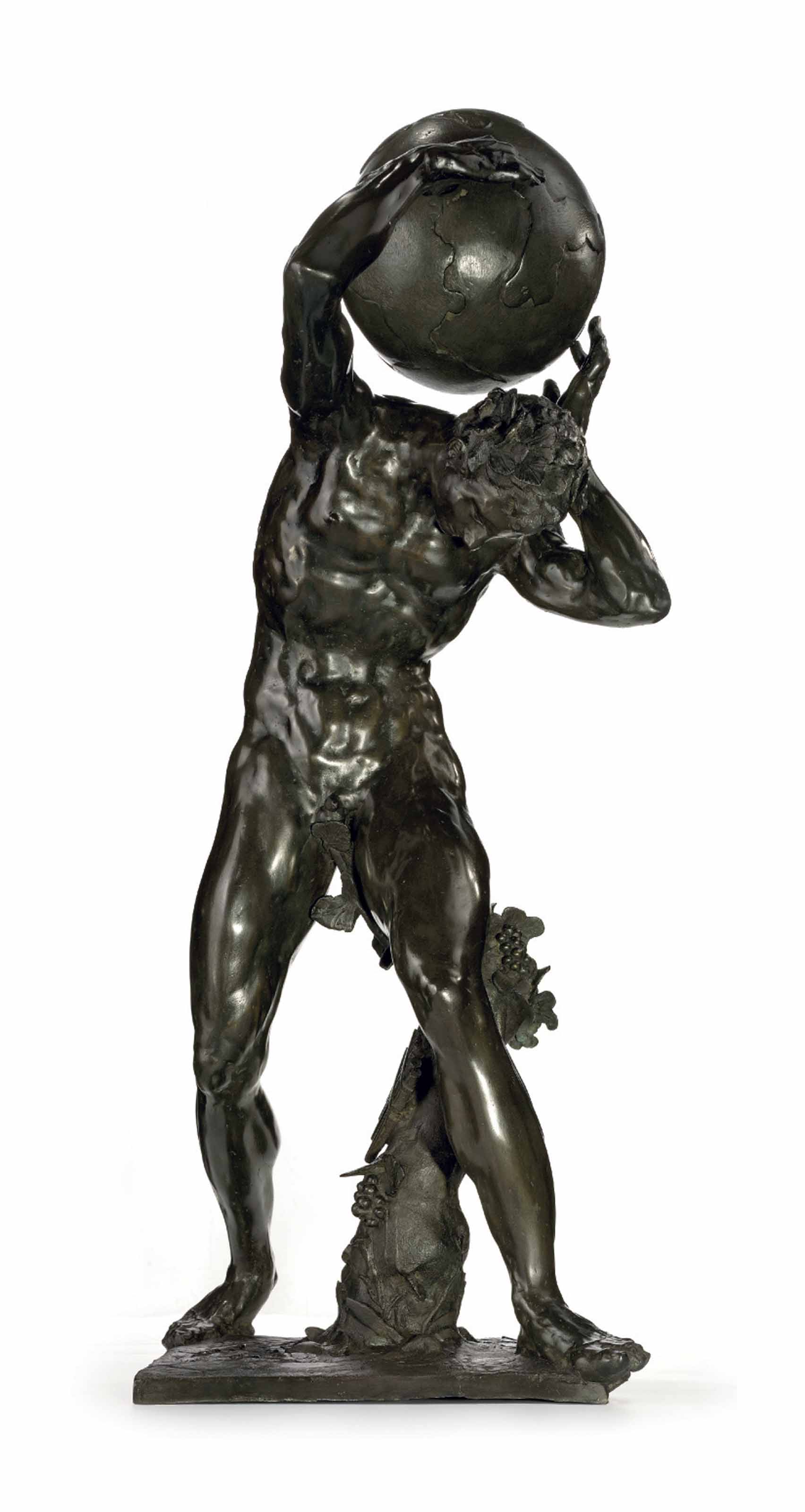 A BRONZE MYTHOLOGICAL FIGURE SUPPORTING THE GLOBE