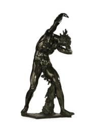 A BRONZE BACCHIC FIGURE SUPPOR