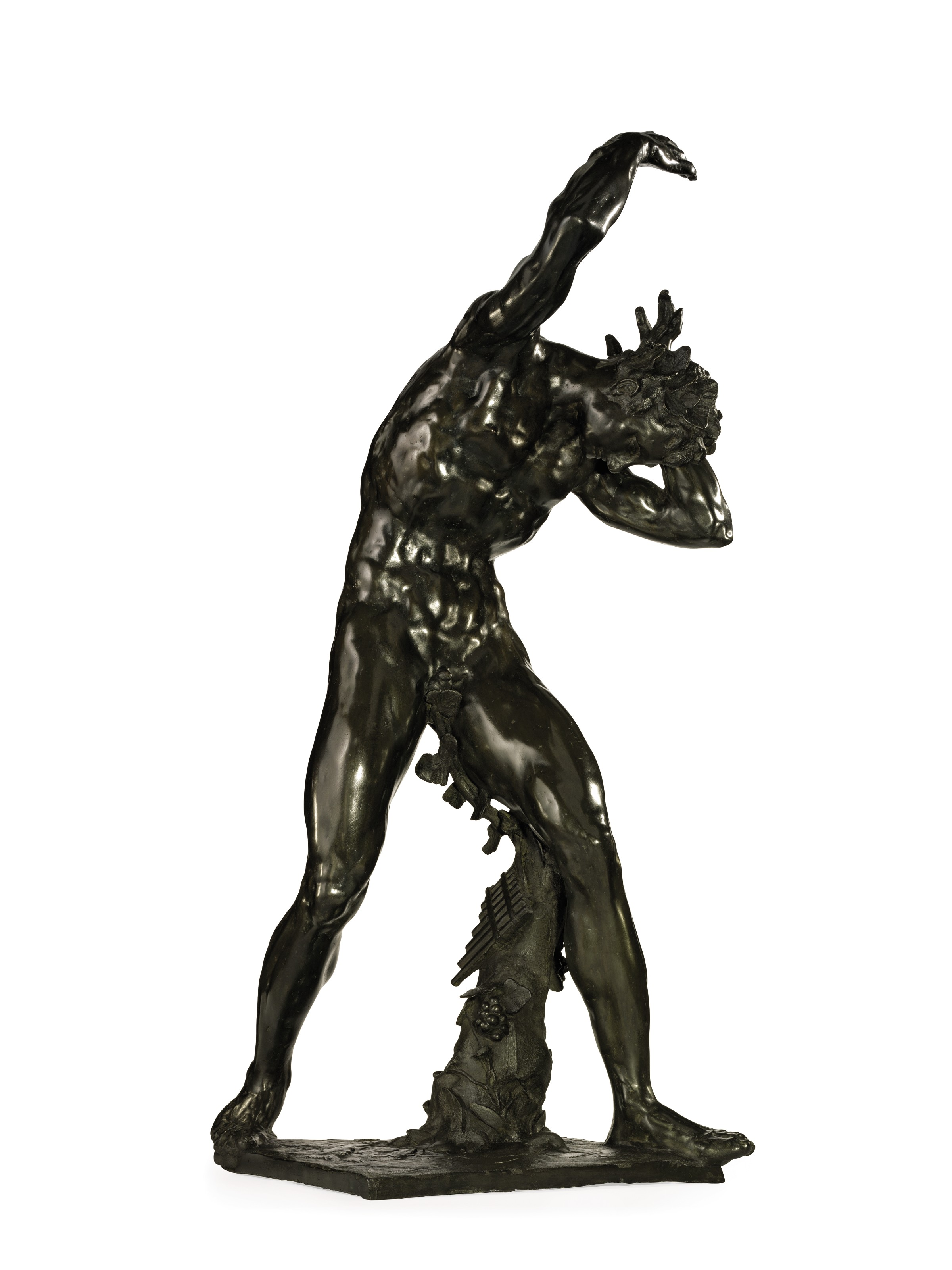 A BRONZE BACCHIC FIGURE SUPPORTING THE GLOBE