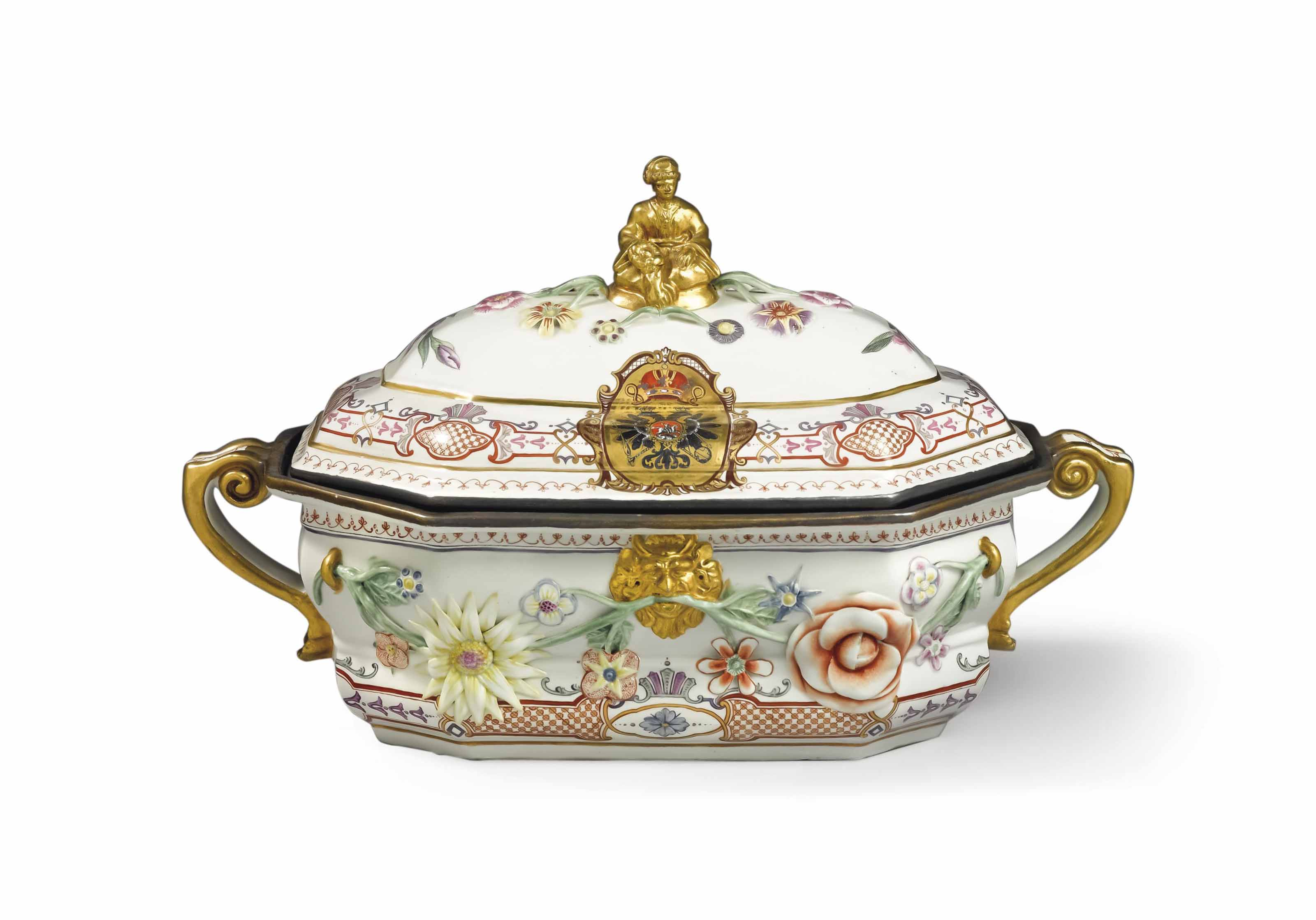 A VIENNA (DU PAQUIER) PORCELAIN ARMORIAL TUREEN AND COVER