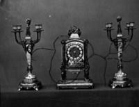 A FRENCH 'JAPONISME' CLOISONNÉ ENAMEL, GILT AND POLYCHROME-PATINATED BRONZE THREE-PIECE GARNITURE DE CHEMINÉE