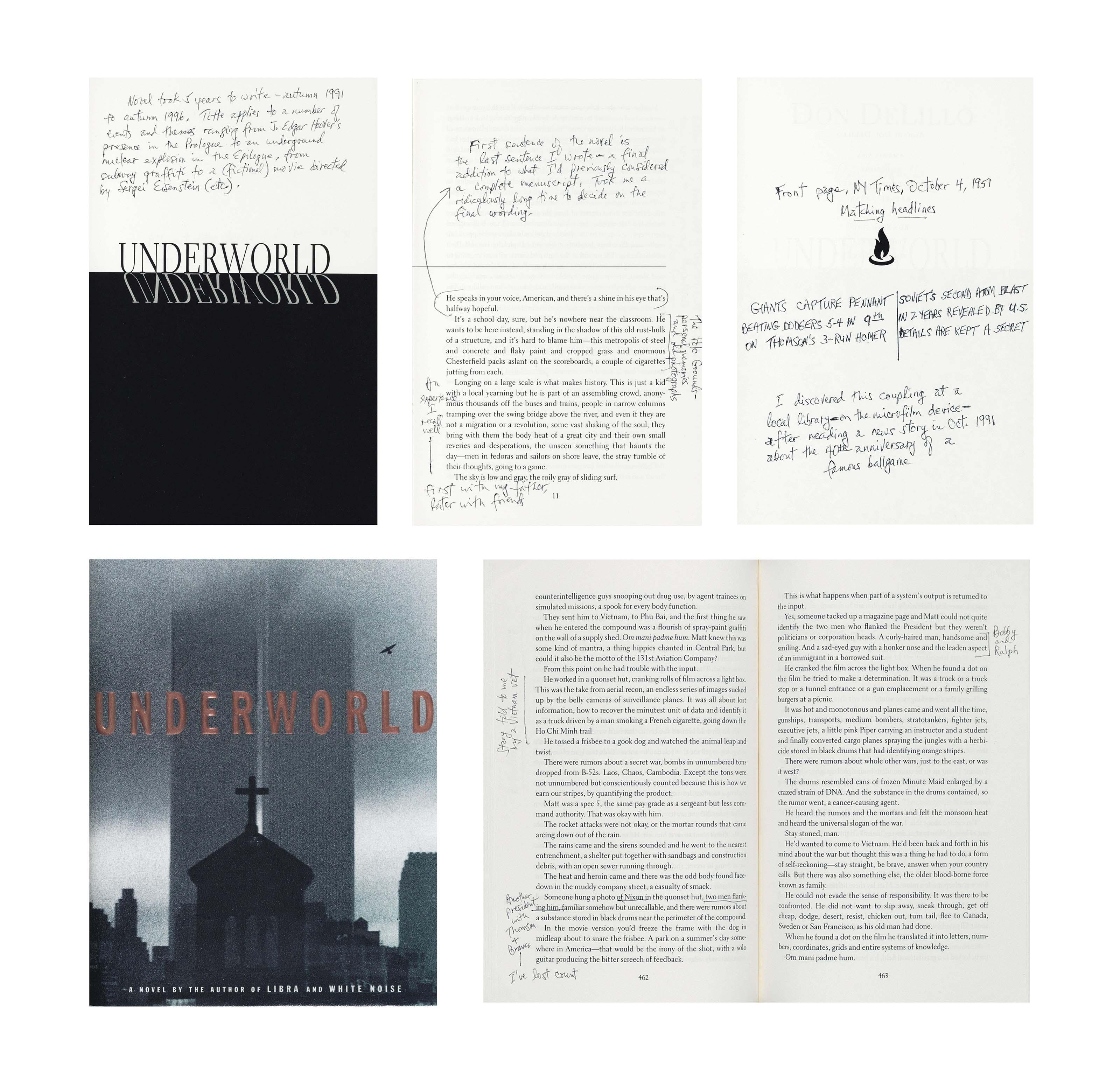 DeLILLO, Don (b. 1936). Underworld. (New York: Scribners, 1997). 8°. Original cloth-backed boards; dust-jacket.