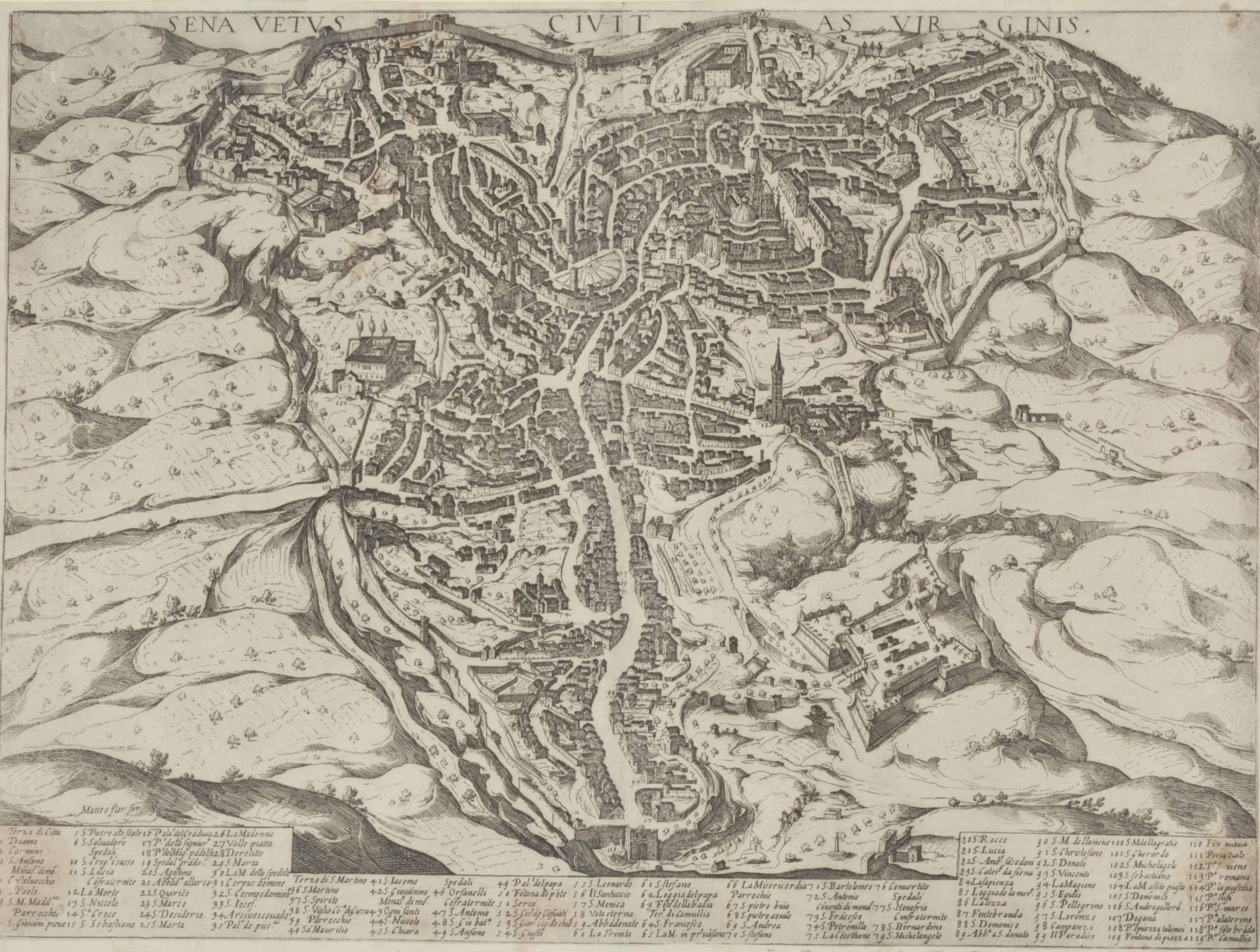 FLORIMI, Matteo (ca 1540-1613).  Sena Vetus Civitas Virginis. Siena, ca 1600.