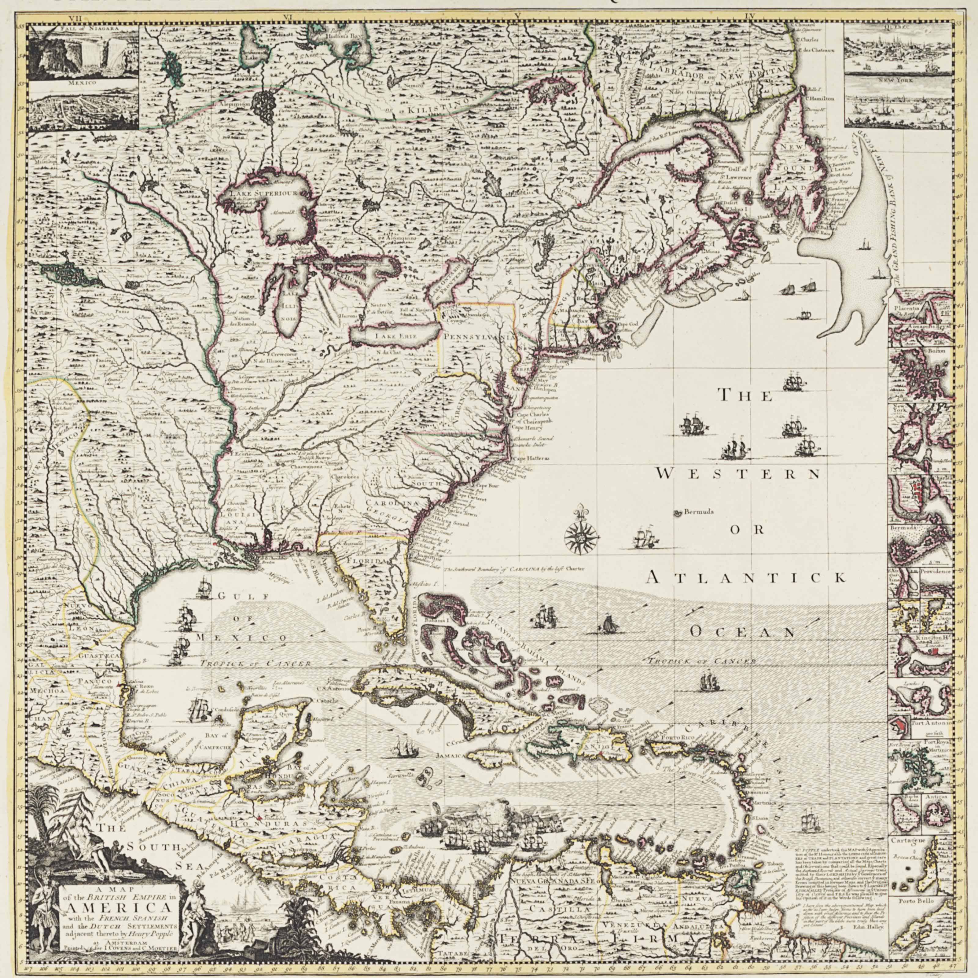 Image of: Popple Henry D 1743 A Map Of The British Empire In America With The French Spanish And The Dutch Settlements Adjacent Thereto Amsterdam Covens And Mortier Ca 1755 Christie S