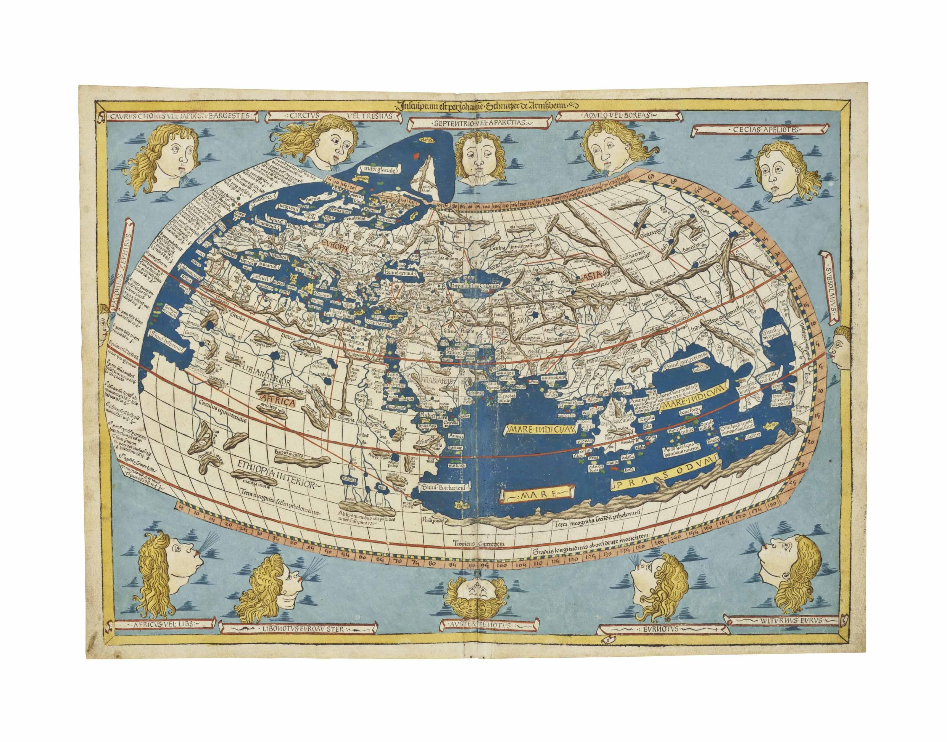 Ptolemy Claudius 2nd Century World Map Insculptum Est Per