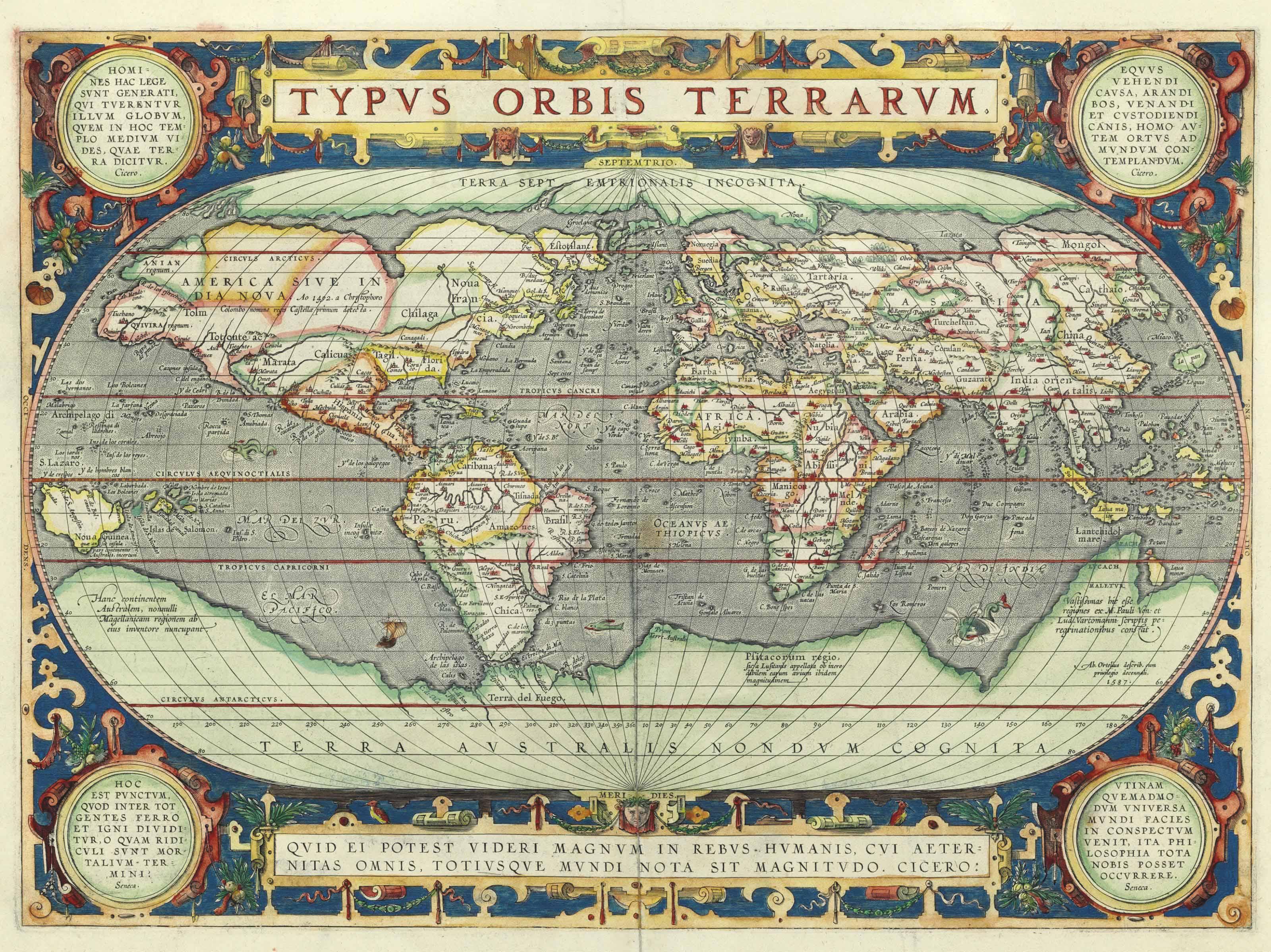 ORTELIUS, Abraham (1527 1598). Typus Orbis Terrarum. Antwerp: 1587