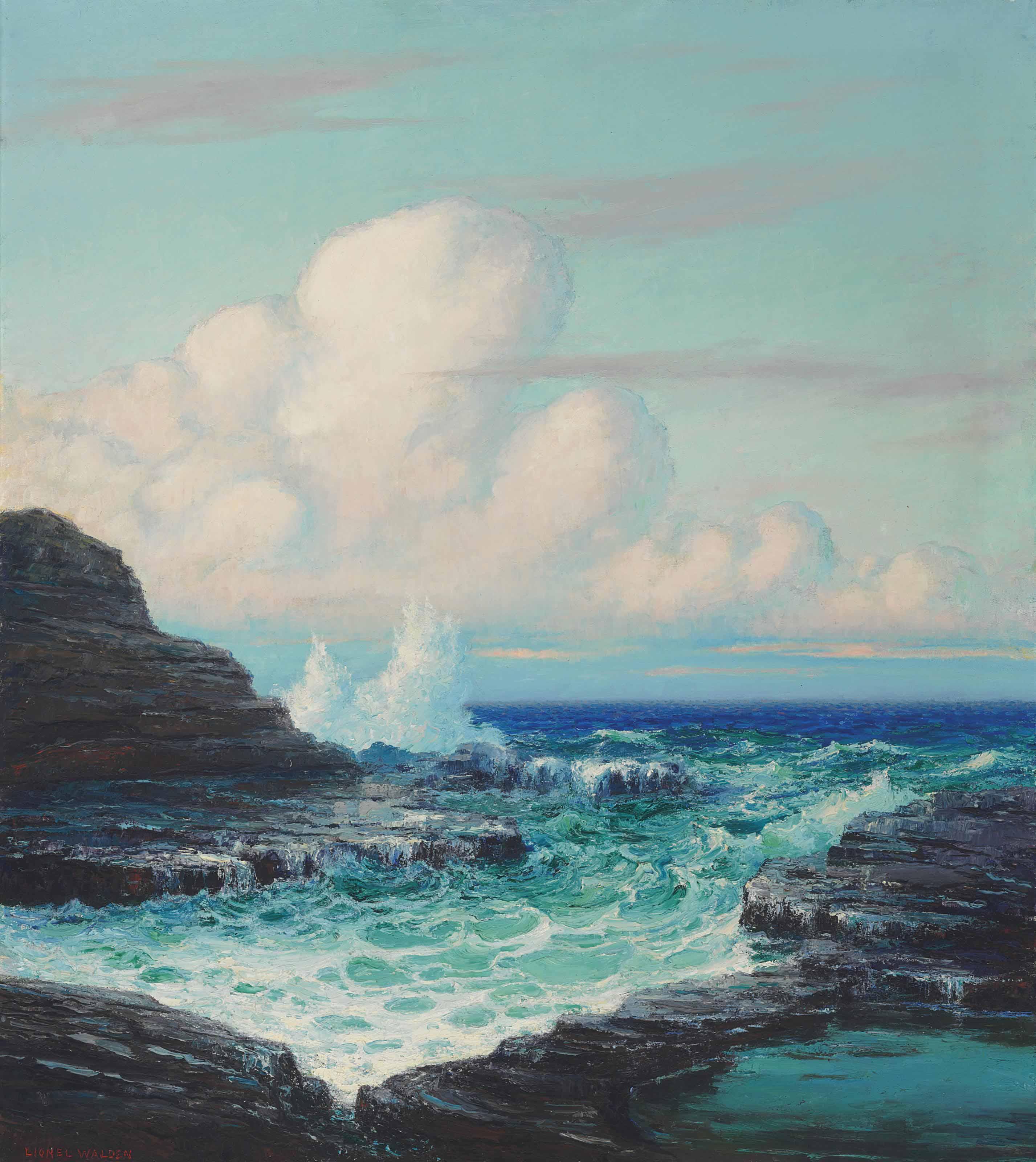 Hawaiian Ocean with Waves Against the Rocks