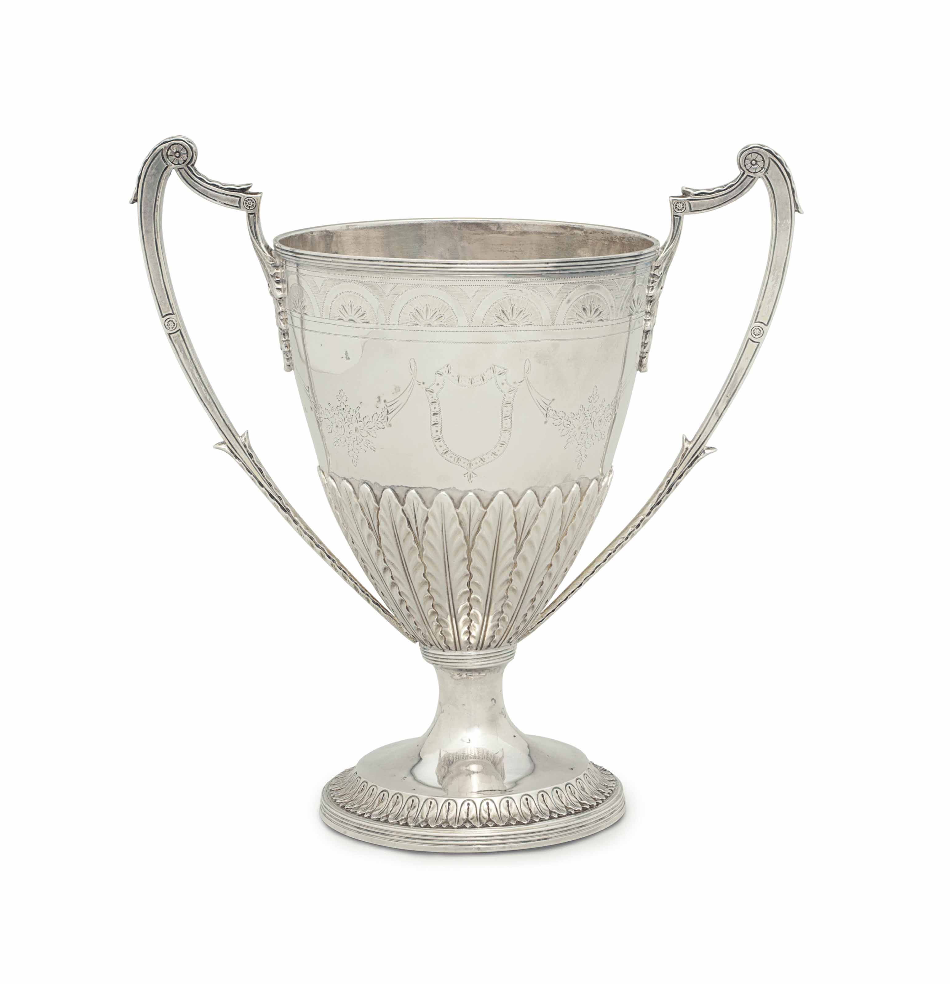 A GEORGE III SILVER TWO HANDLED CUP