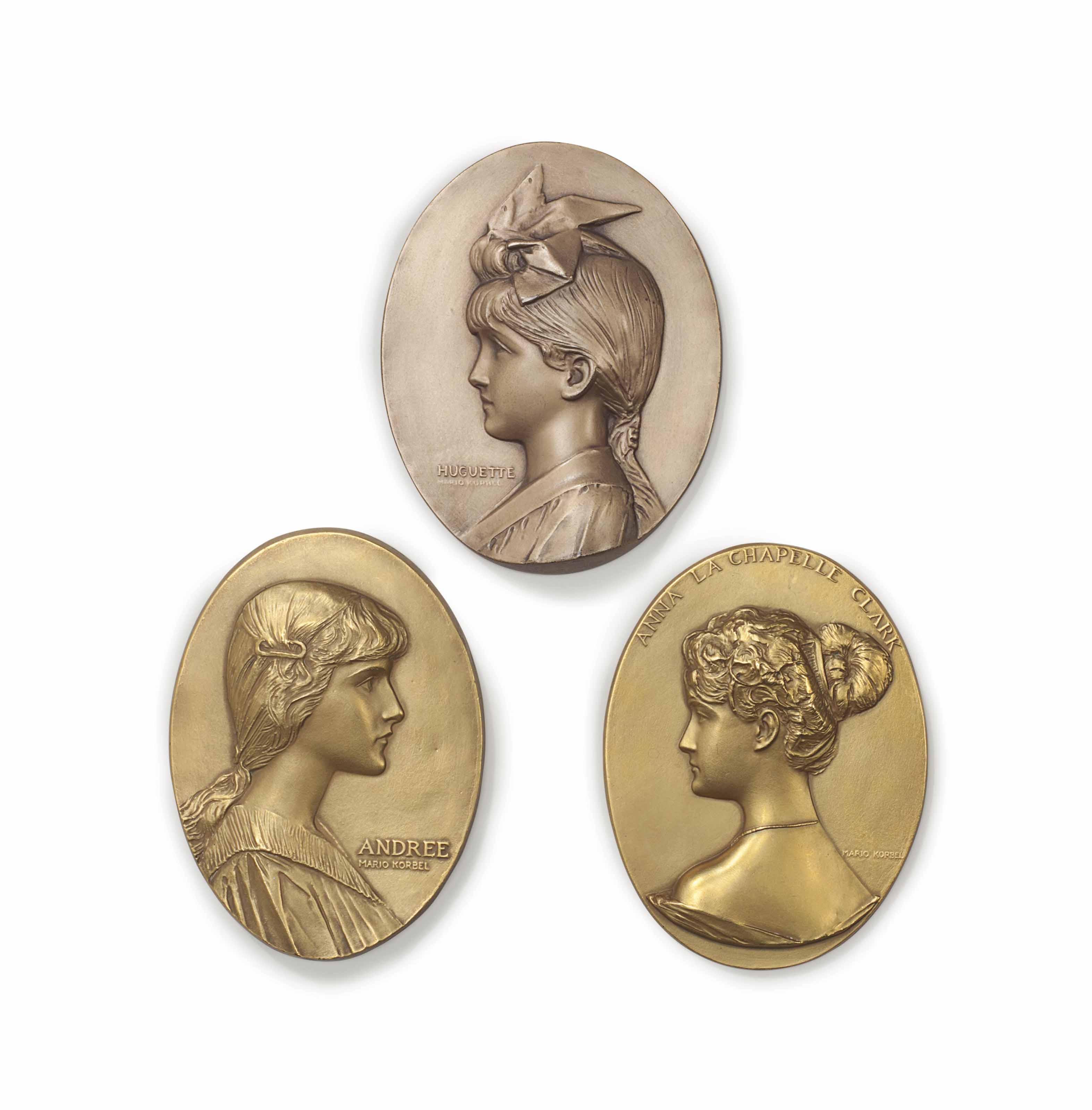 Three Works: Three Portrait Profile Plaques of Andrée, Huguette and Anna La Chapelle Clark