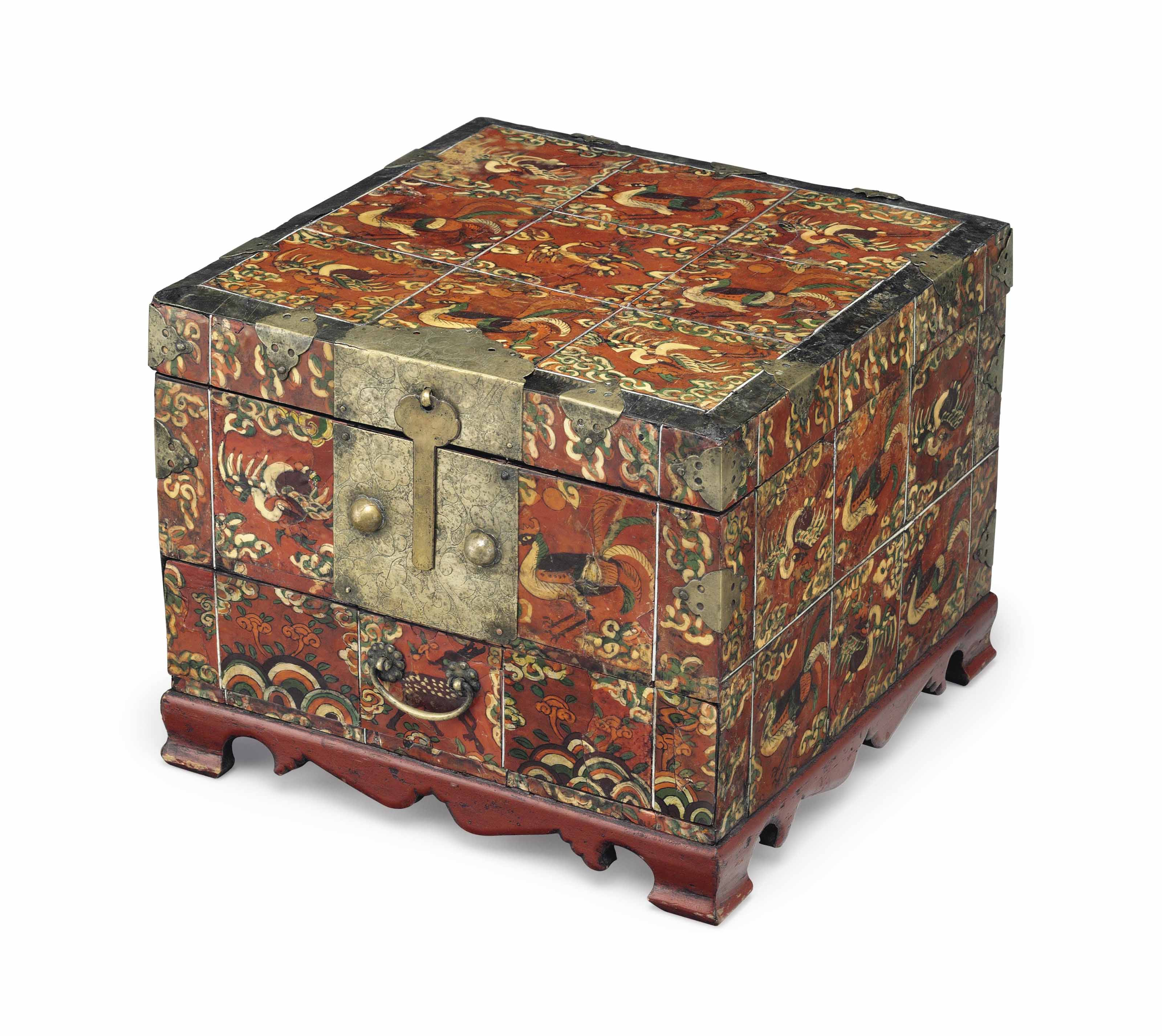 A Reverse-Painted Oxhorn-Applied Accessory Box (Hwagak haem)