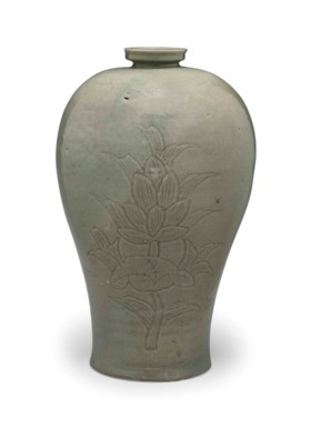 A Carved Celadon Maebyong