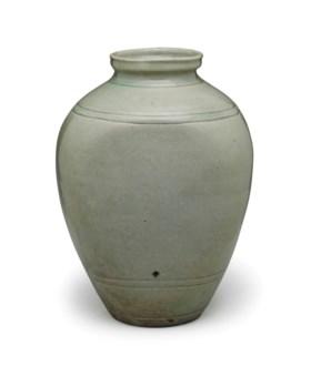 A Celadon-glazed Stoneware Vase
