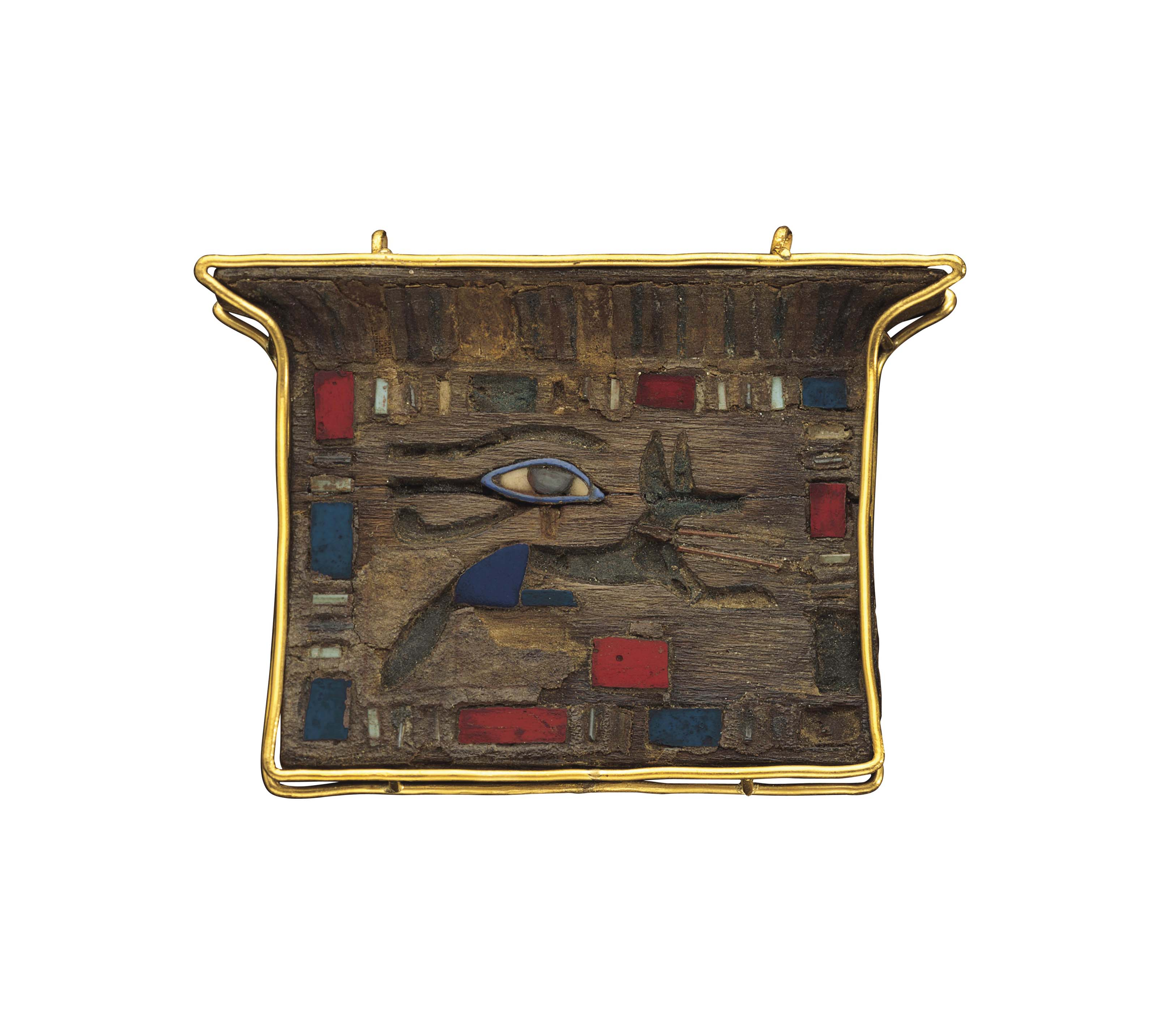 AN EGYPTIAN INLAID AND PAINTED