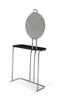 A TUBULAR STEEL, EBONIZED WOOD AND MIRROR GLASS DRESSING TABLE
