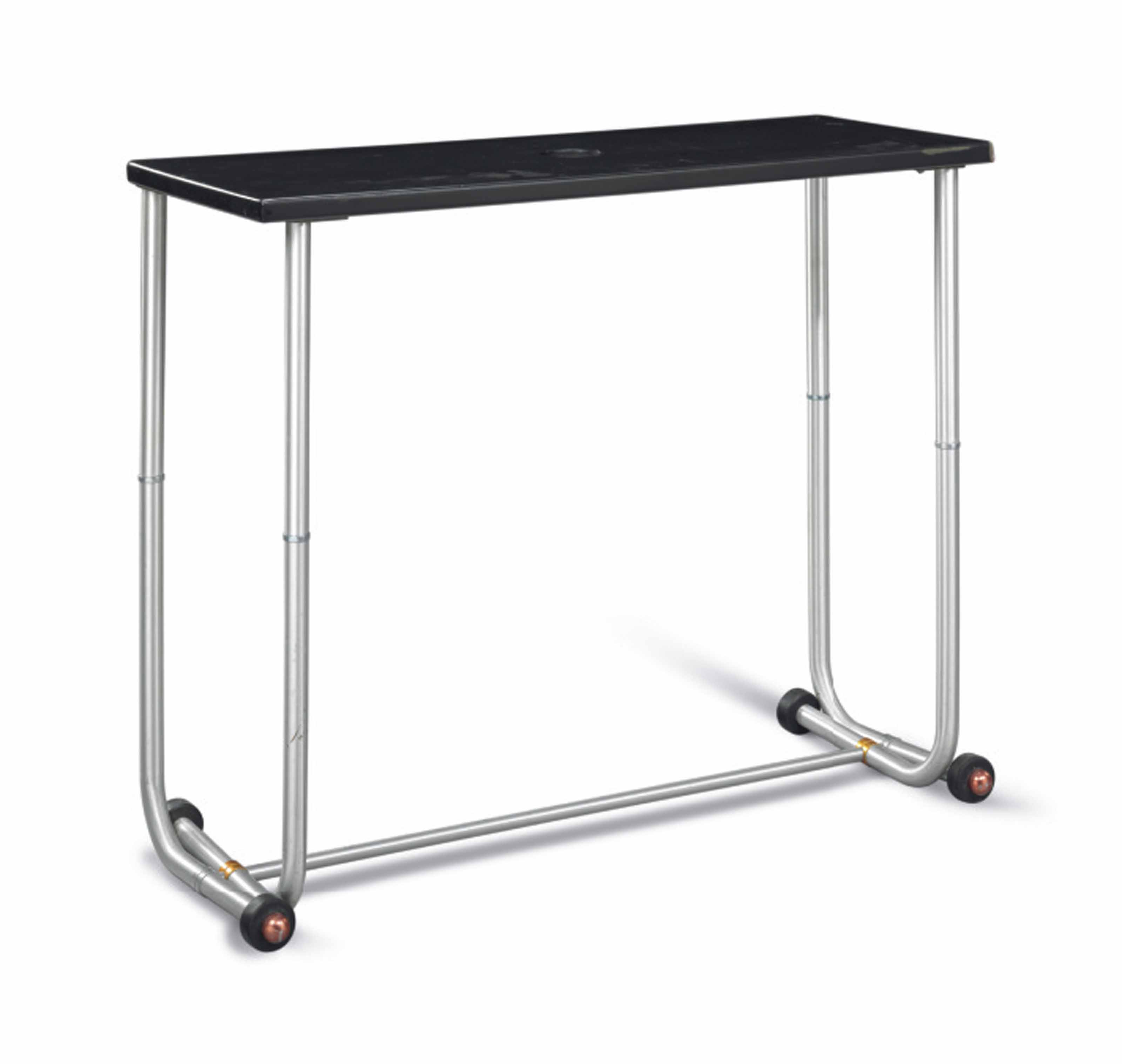 AN AMERICAN BRUSHED ALUMINUM AND EBONIZED SIDE TABLE