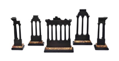 A SET OF FIVE PATINATED BRONZE