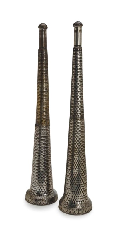 A PAIR OF INDIAN BIDRIWARE SIL