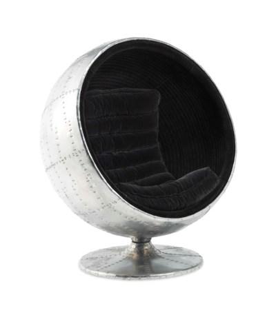 A CHROME METAL BALL CHAIR