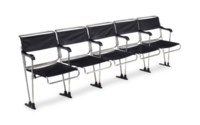 A SET OF TUBULAR STEEL AND NYLON STADIUM SEATS, MODEL B.70