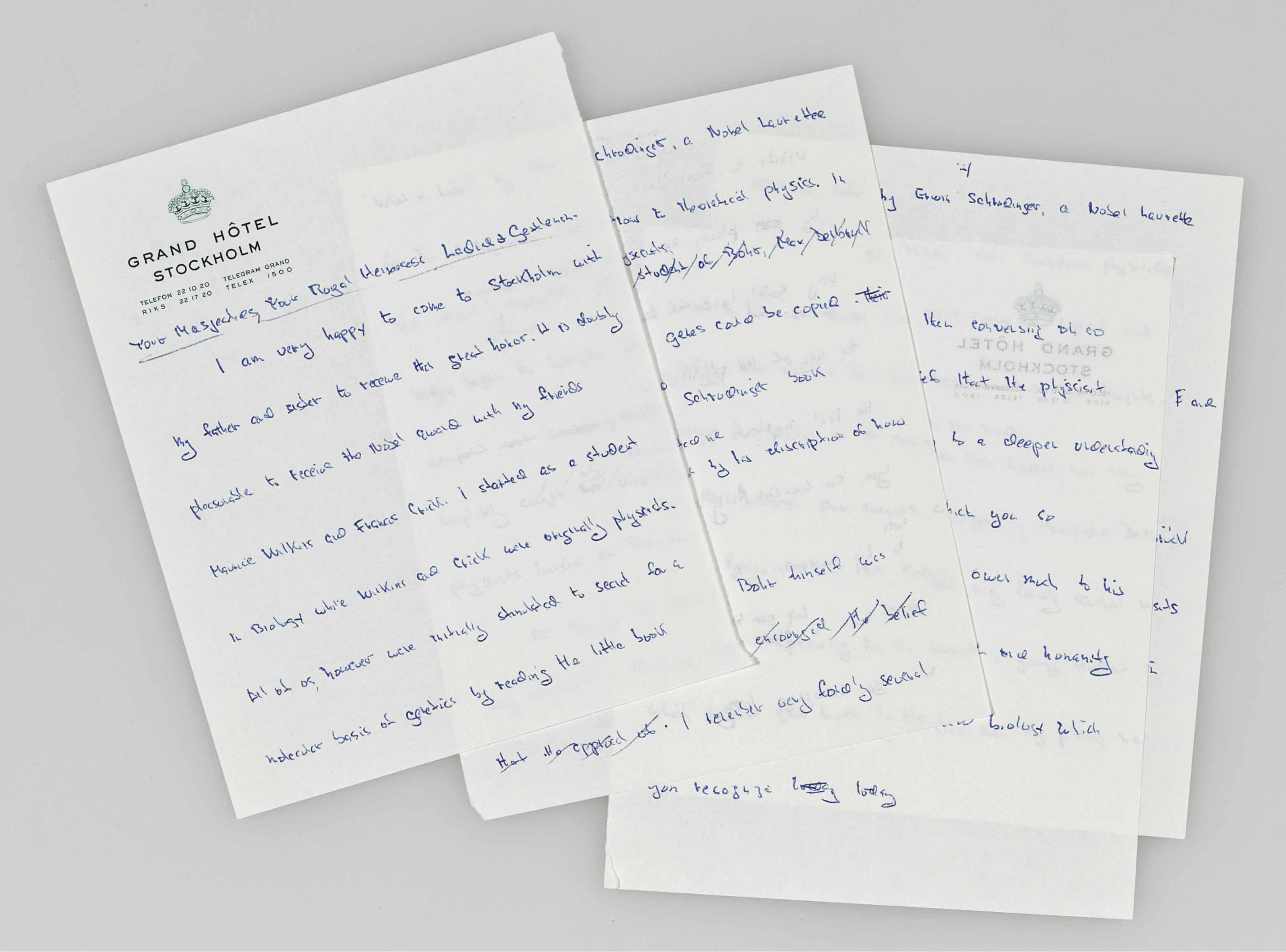 """WATSON, James D. The Nobel Prize """"Banquet"""" Speech . Manuscript draft notes for the Nobel Prize Acceptance Speech. 5 pages on four leaves, small 8vo (170 x 135 mm), in blue ink on Grand Hotel Stockholm stationery. Stockholm, December 9,1962."""