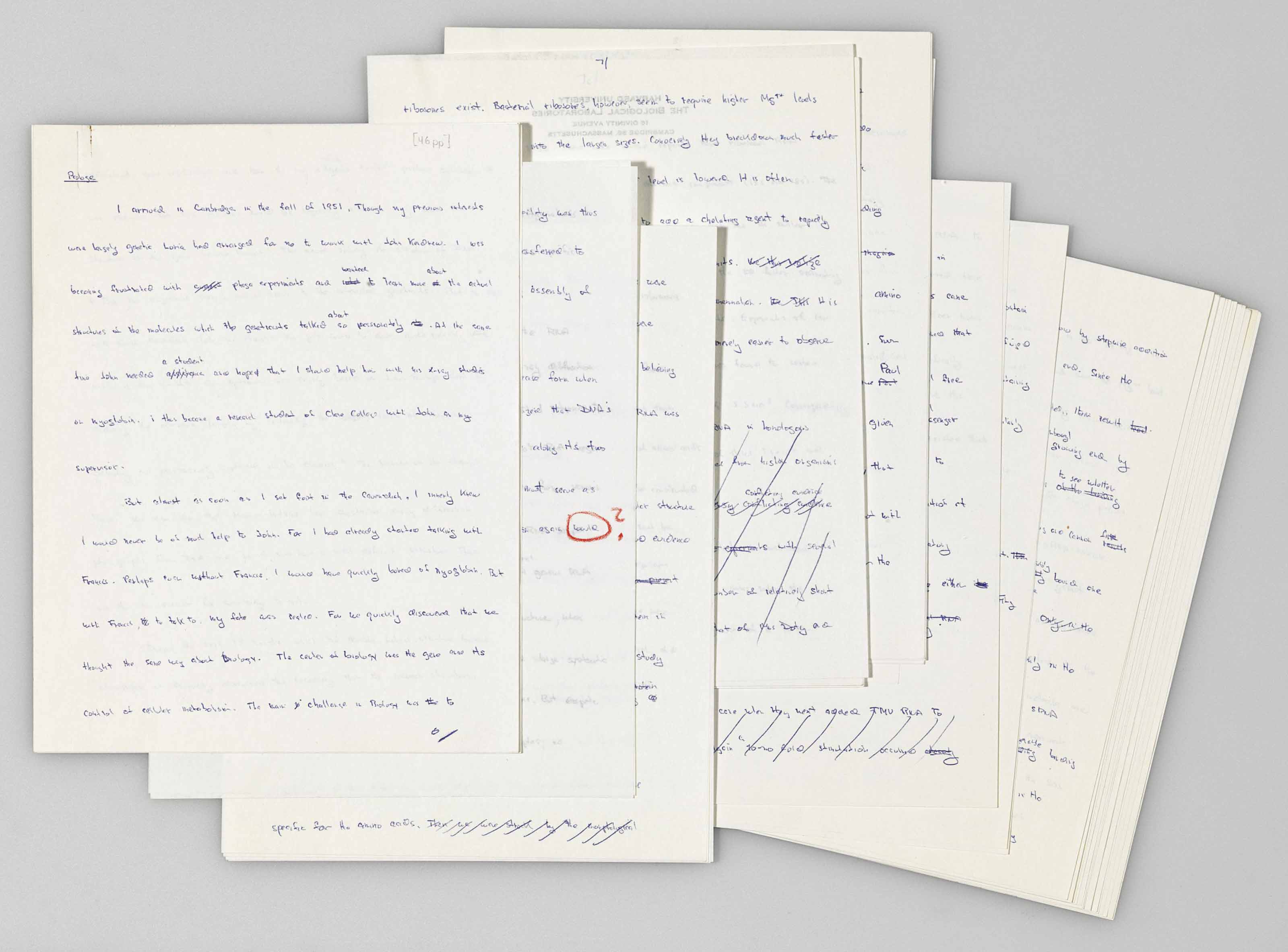 """WATSON, James D. """"The Involvement of RNA in the Synthesis of Proteins."""" Original Holograph Manuscript for Watson's Nobel Lecture delivered on December 11, 1962. 46 pp., 4to in blue ink on rectos only."""
