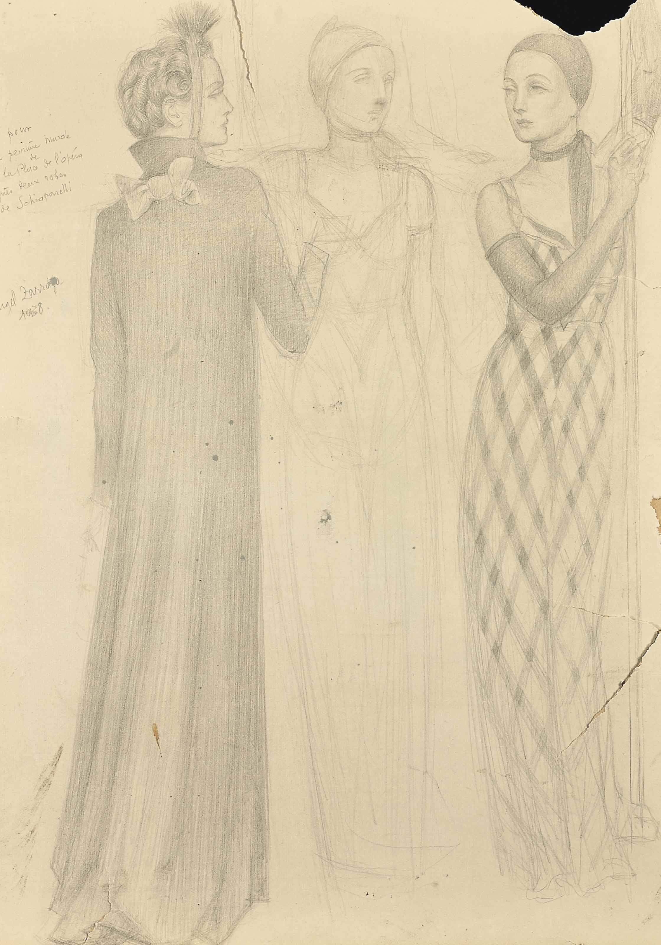 Femmes vêtues de robes Schiaparelli (Etude pour la peinture murale de la Maison du Café, place de l'Opéra)