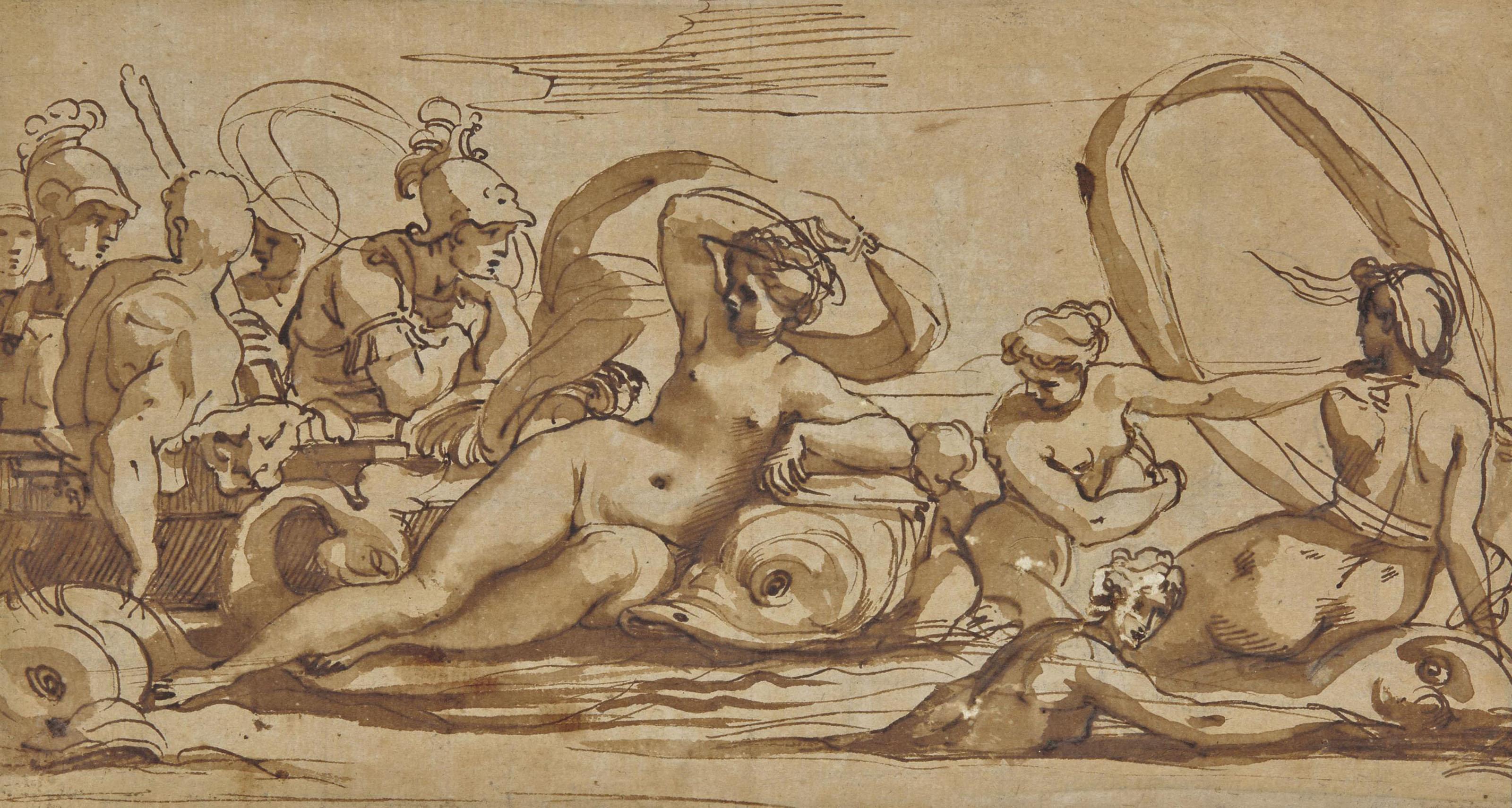 Thétis et les néréides guidant l'Argo entre Charybde et Scylla