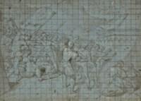 Soldats attaquant un camp, une ville dans le lointain