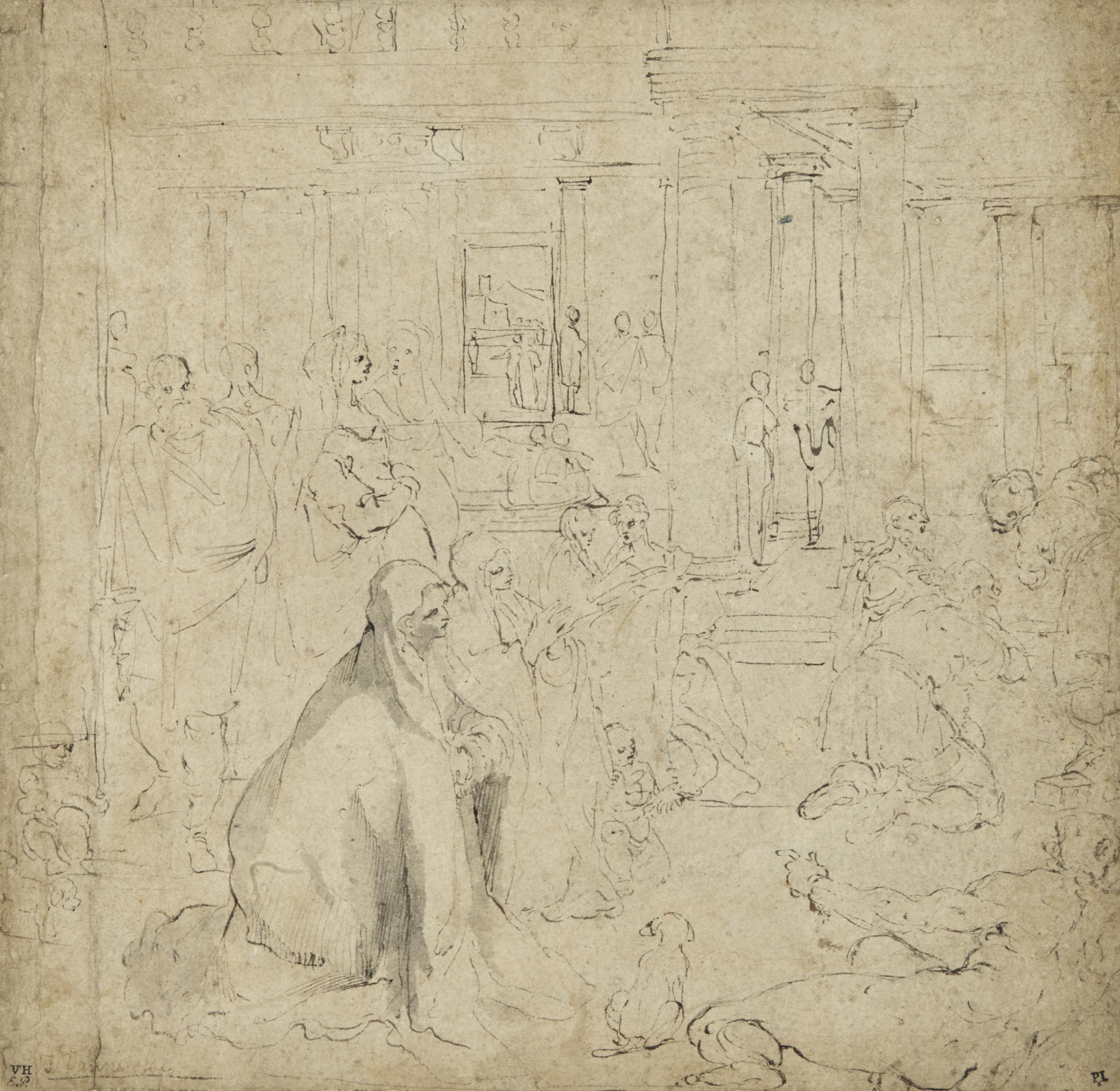 Un groupe de figures dans un intérieur, des femmes agenouillées au premier plan (recto); Esquisse d'une tête (verso)