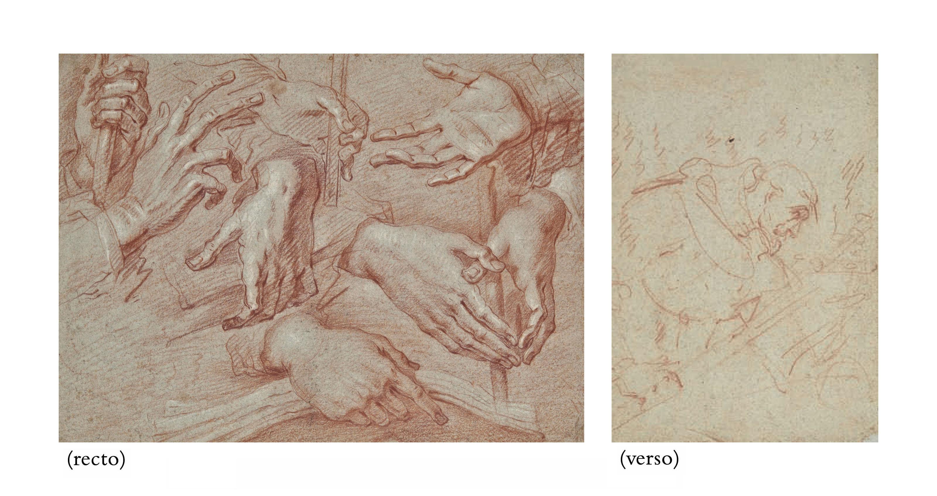 Etude de mains (recto); Moine priant (verso)