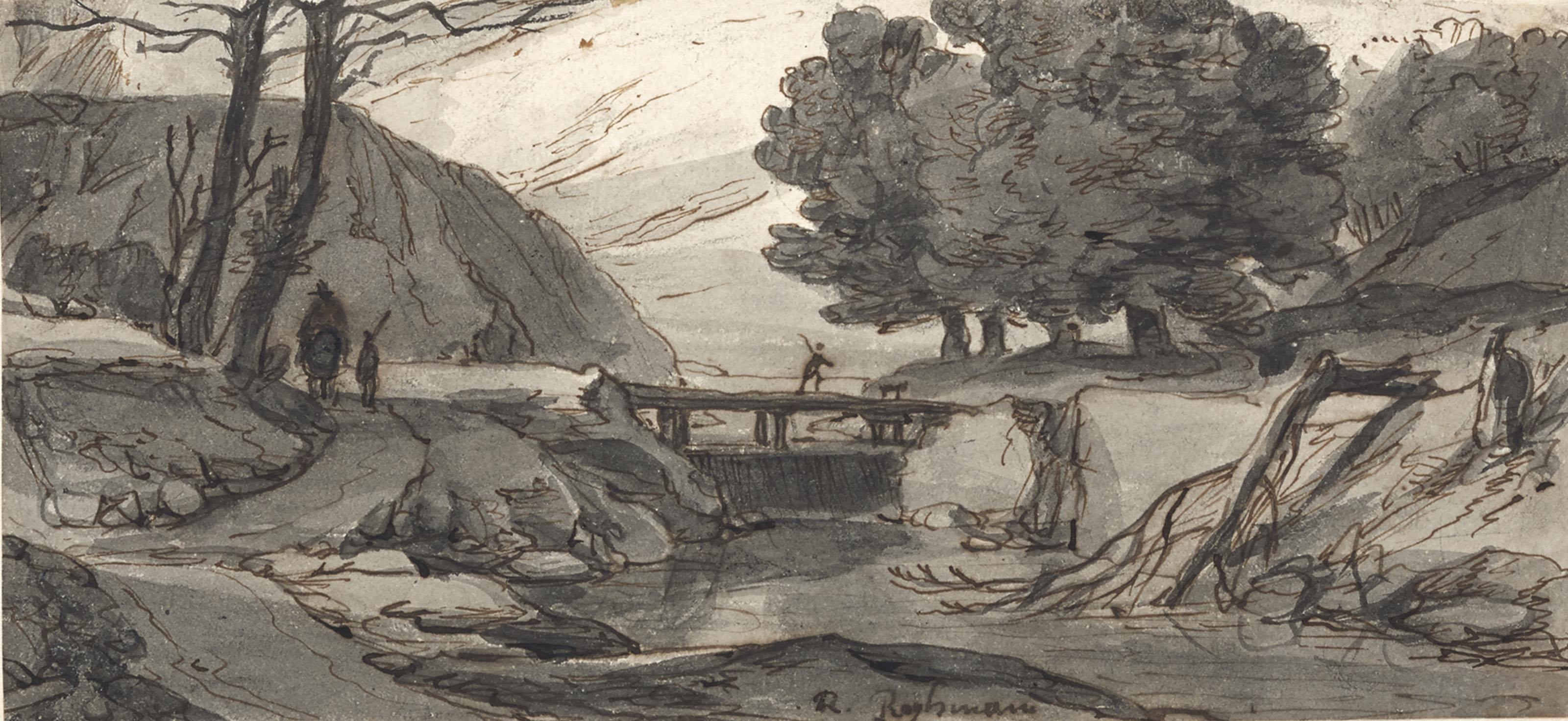 Paysage fluvial animé de personnages