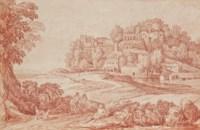 Personnages sur un chemin, un village à l'arrière-plan