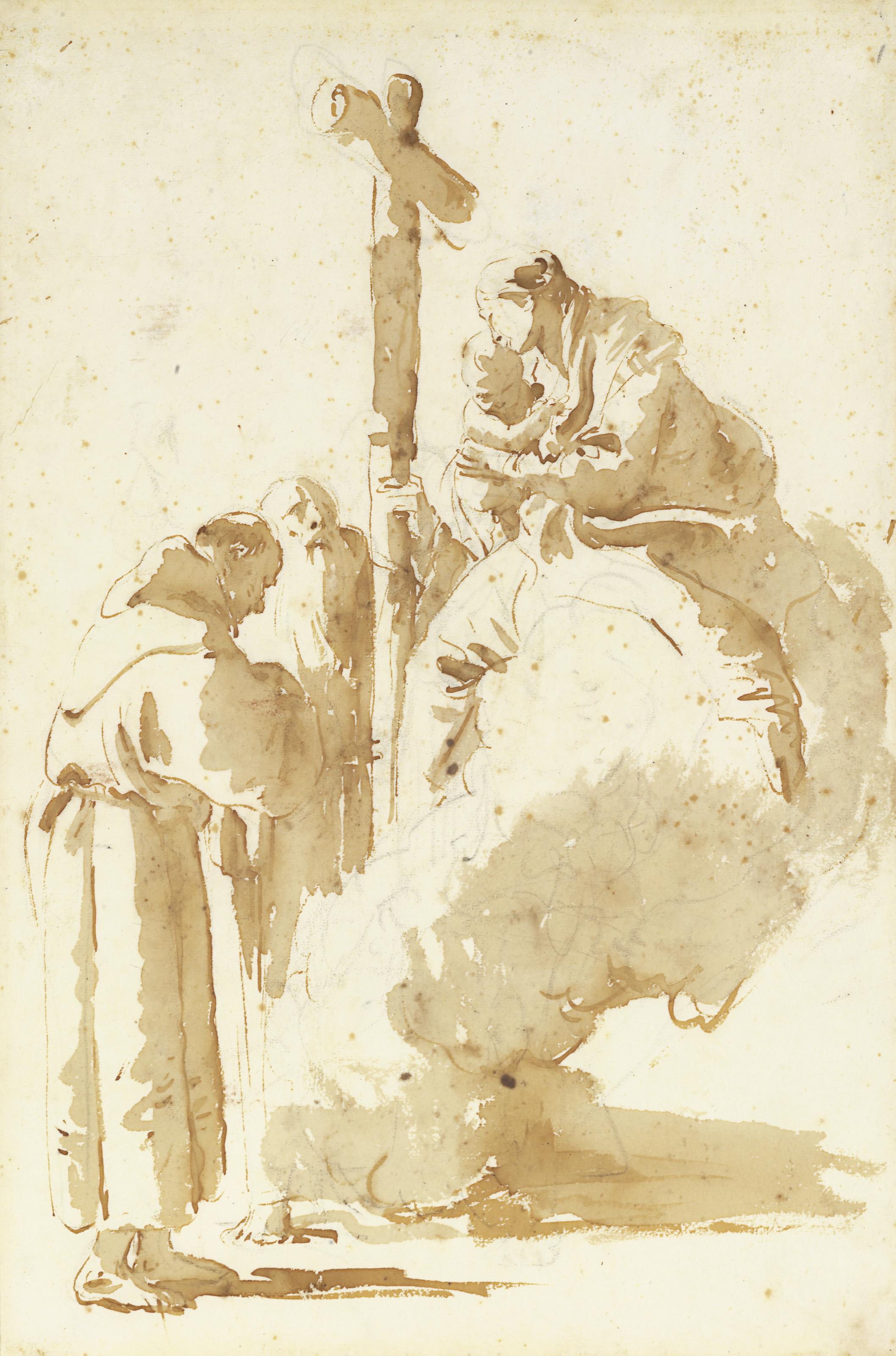 Saint Antoine et un abbé adorant la Vierge à l'enfant