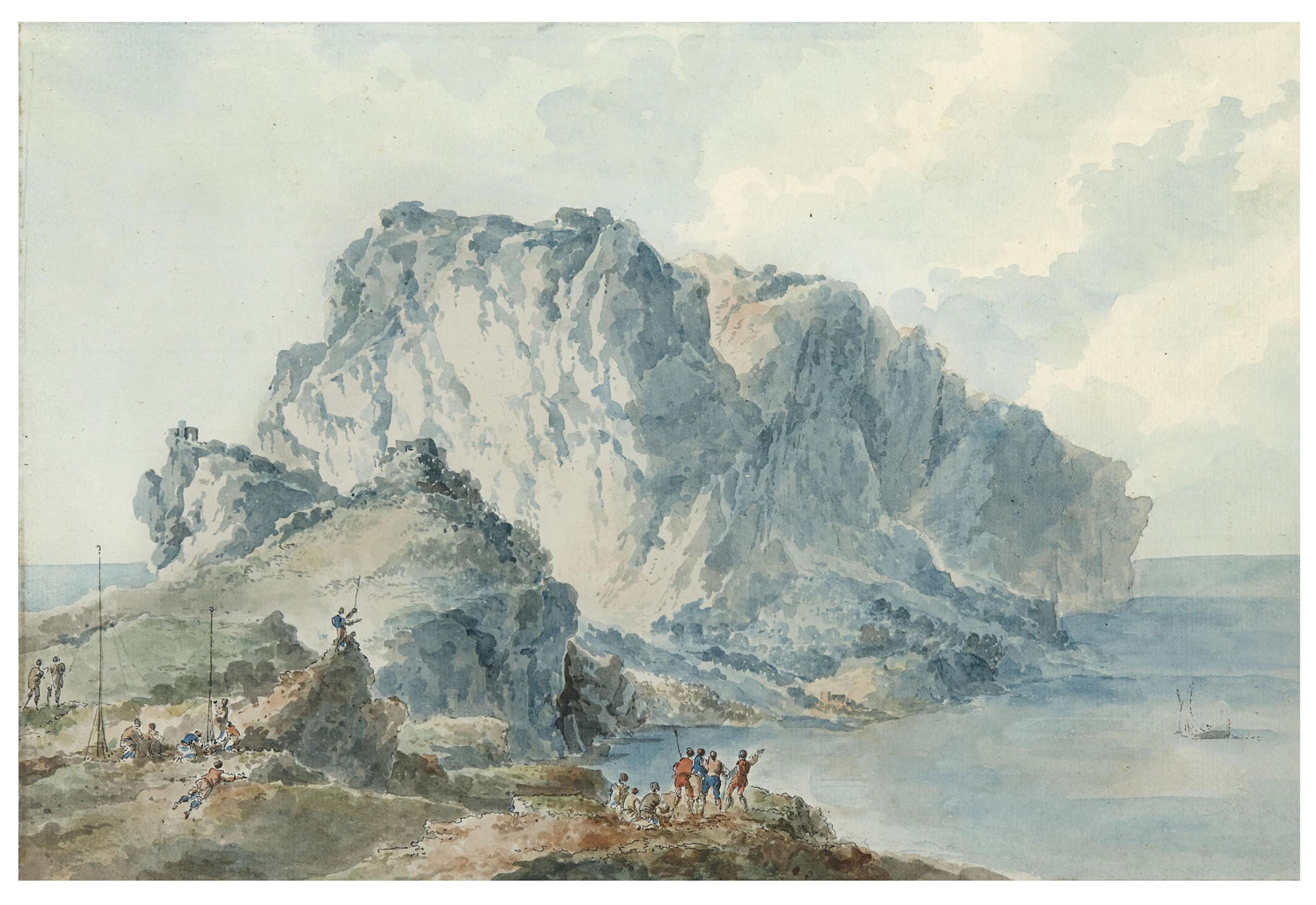 Embarcations devant l'île de Capri; et Seconde vue de l'île de Capri avec un groupe de personnages devant un grand promontoir