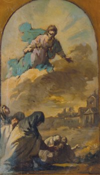 Religieuses se prosternant devant une apparition de la Vierge