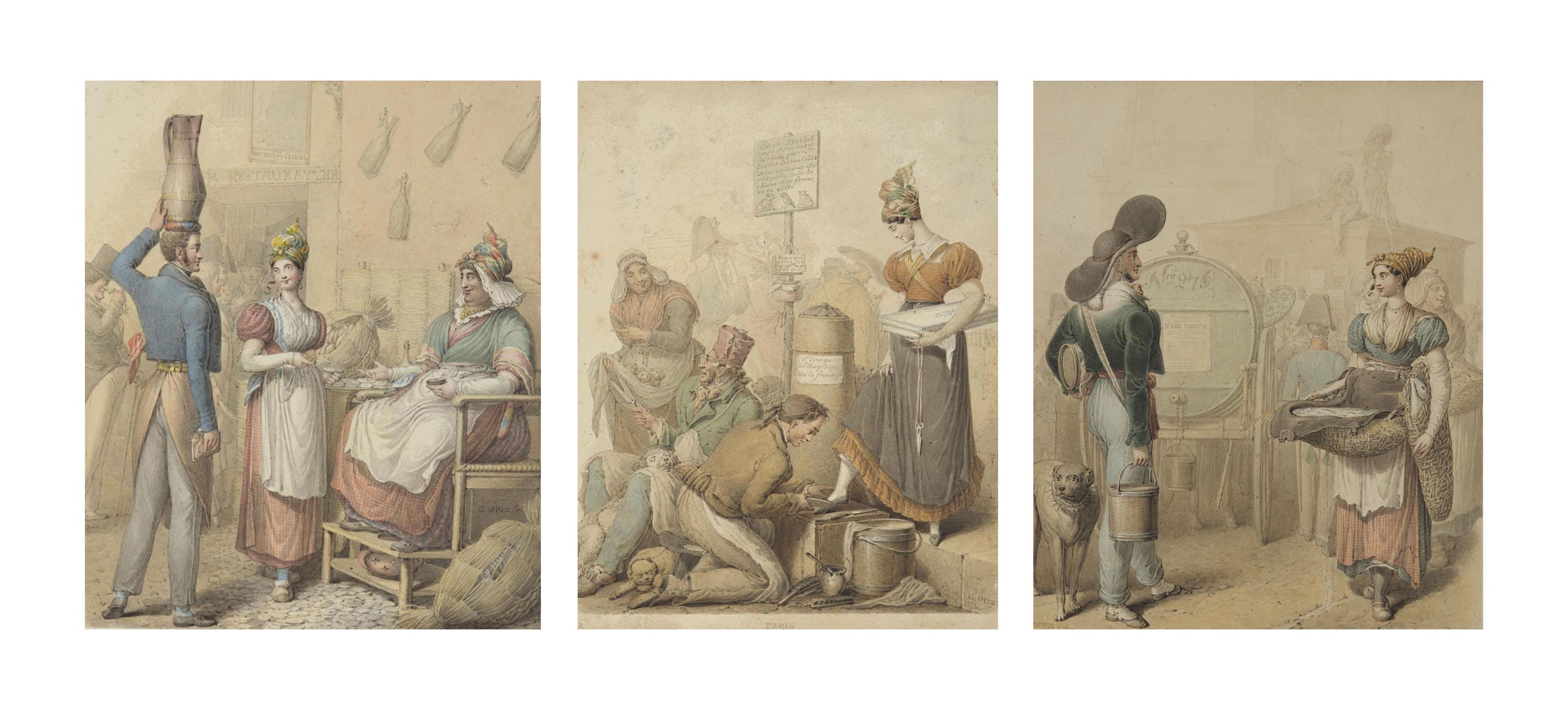Trois scènes de marché: Un marchand de vin et une marchande d'huîtres (1); Jeune couturière se faisant cirer les chaussures (2); Porteur d'eau et poissonière (3)