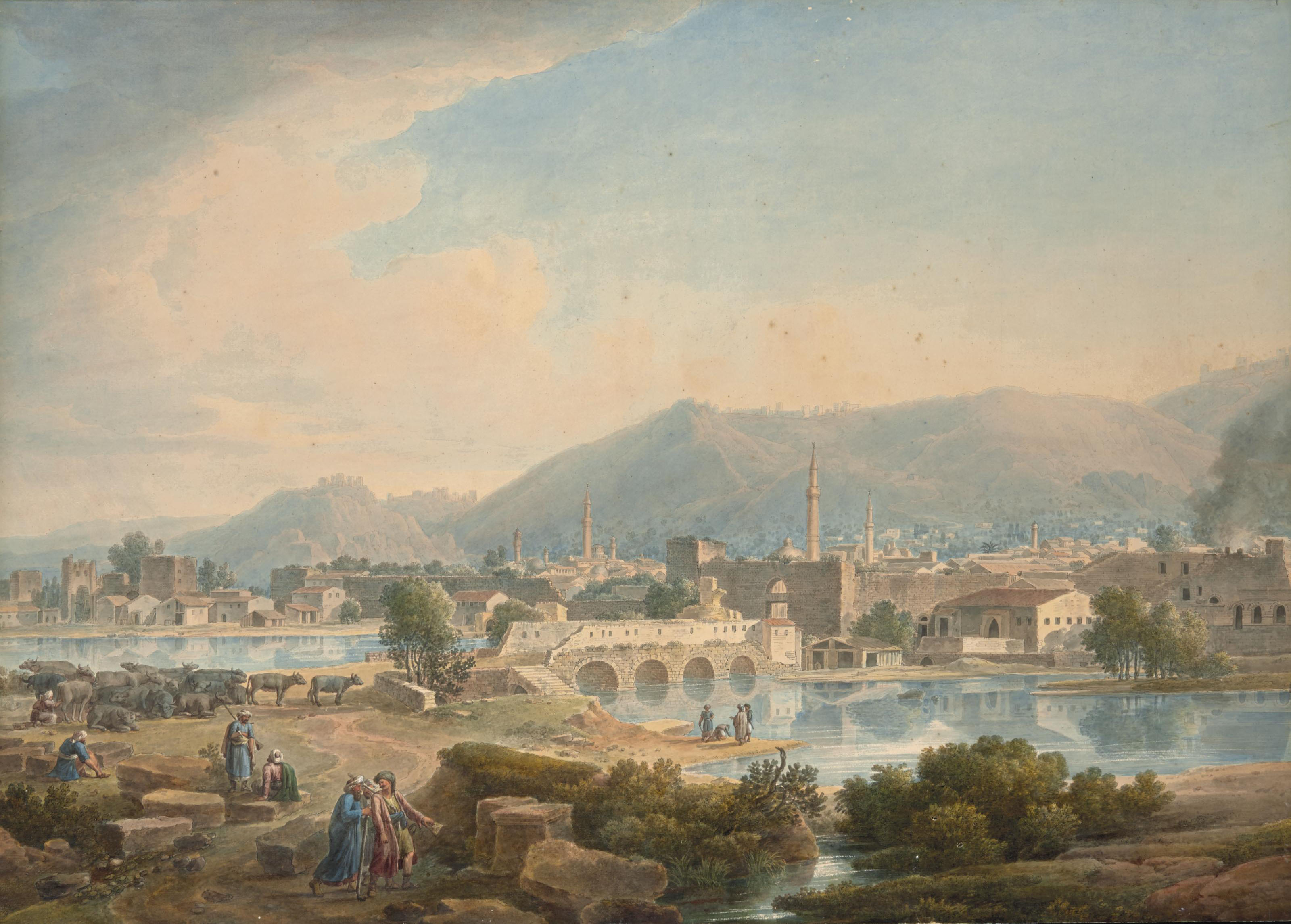 Vue d'Antioche, en Turquie, des personnages et un troupeau au premier plan