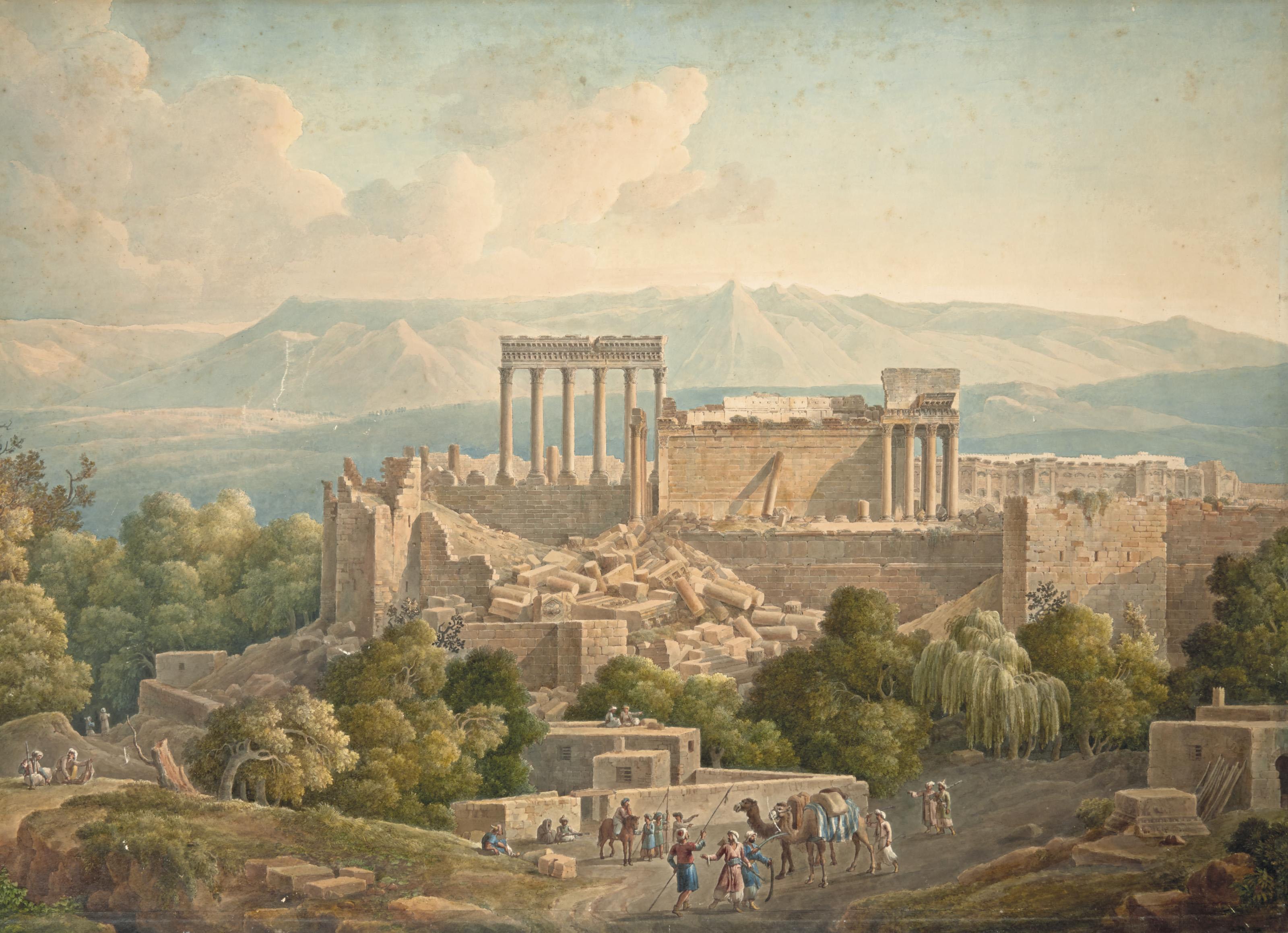 Vue de Baalbek, au Liban, un groupe de chameliers au premier plan