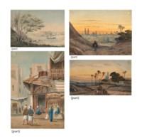 Un ensemble de dix-neuf dessins représentant des scènes orientales et des vues d'Egypte, montés sur des pages d'albums