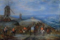Paysage avec deux moulins et des voyageurs sur un chemin
